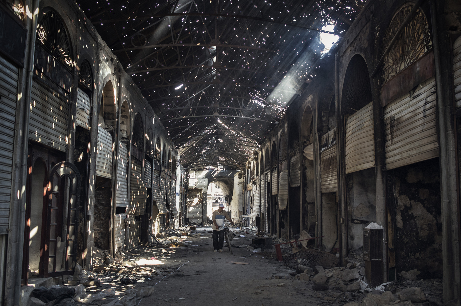 The old covered market in Homs sits destroyed. May 14, 2014.