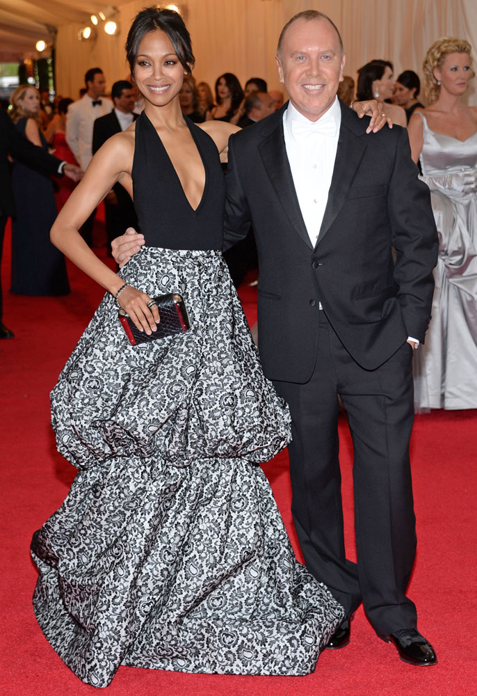From left: Zoe Saldana and designer Michael Kors attend The Metropolitan Museum of Art's Costume Institute benefit gala celebrating  Charles James: Beyond Fashion  on May 5, 2014, in New York City.