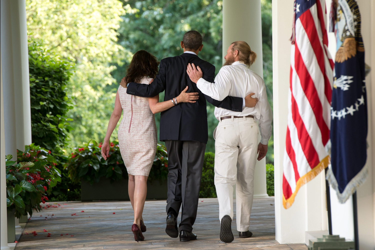 May 31, 2014. US President Barack Obama (C), with the parents of US Army Sgt. Bowe Bergdahl, Jani Bergdahl (L) and Bob Bergdahl (R), walks back to the Oval Office after making a statement regarding the release from captivity of Sgt. Bowe Bergdahl by the Taliban, in the Rose Garden at the White House in Washington, DC.