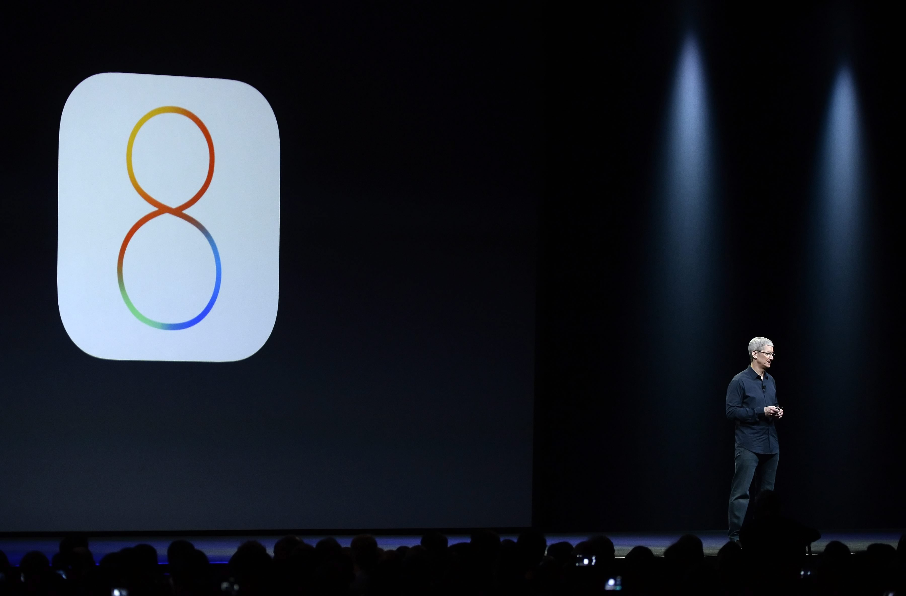 Apple CEO Tim Cook introduces IOS 8 in the Moscone Center in San Francisco, California, USA, June 2, 2014.