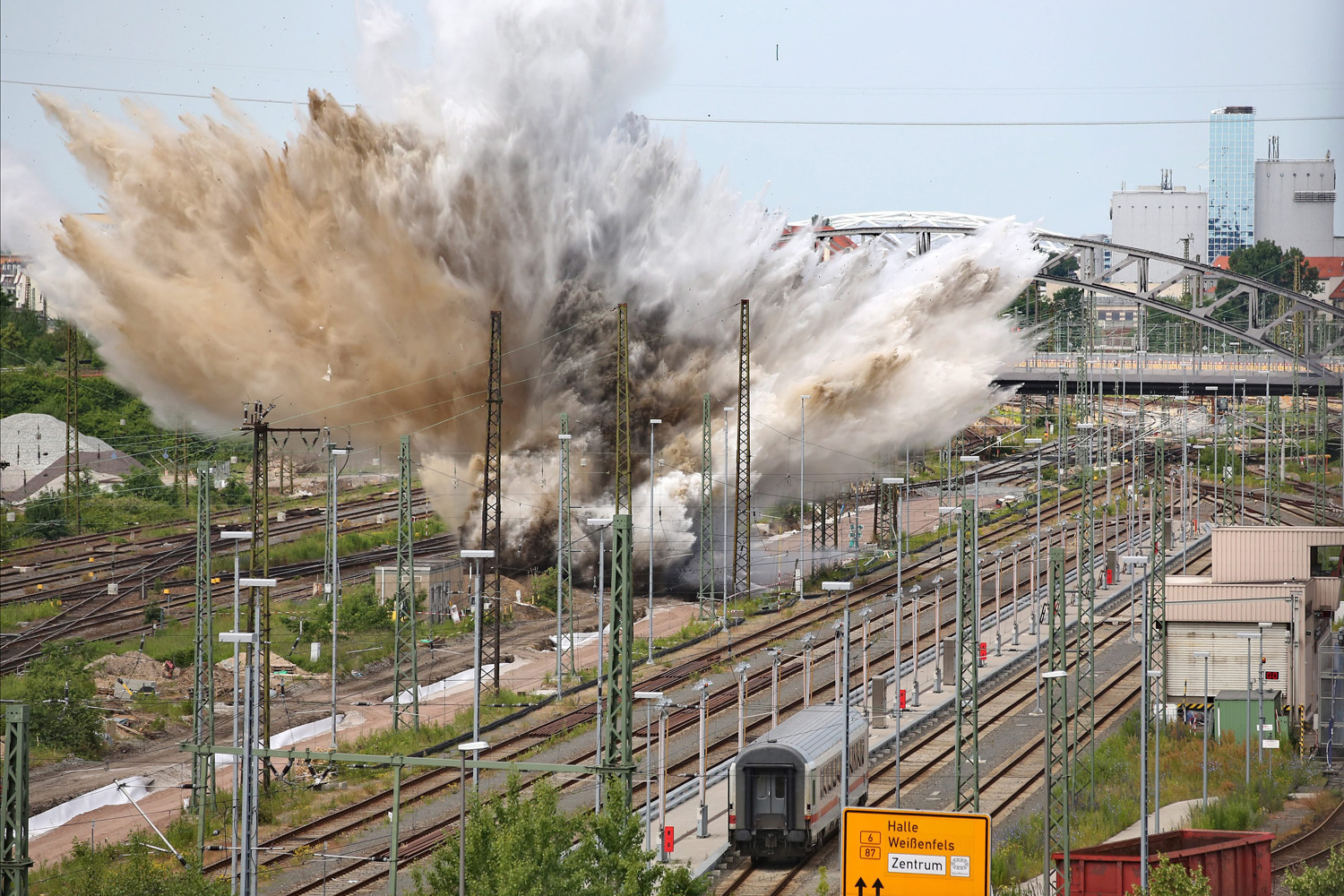 Jun. 12, 2014. An aerial bomb is detonated in a railway area in Leipzig, Germany. Experts of the bomb disposal team demolished the bomb, after the American aircraft bomb was discovered during construction works at the old post station.