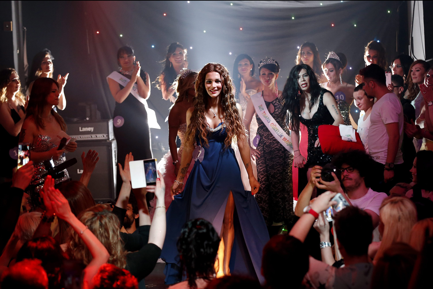 Jun. 21, 2014. The winner of transsexual beauty contest, Yanki Bayramoglu (C) cheers during a transsexual beauty contest in Istanbul, Turkey.