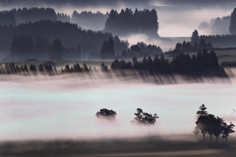Jun. 26, 2014. Morning fog glows above the Alpine foothills near Bernbeuren, Germany.