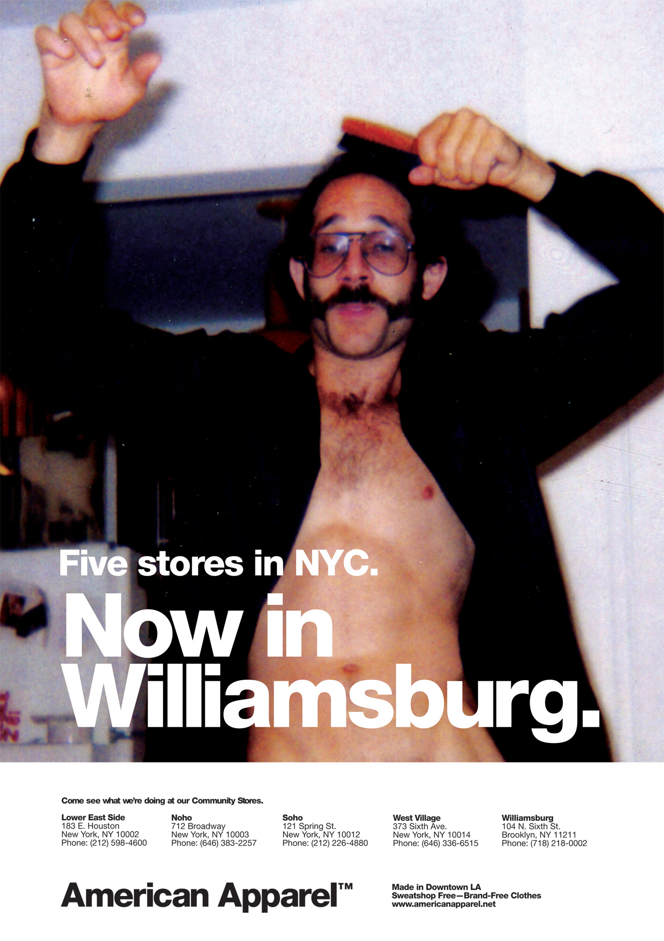 And here's the founder and CEO himself. Flavorwire labeled this ad as a representation of  The Dov Charney-Williamsburg axis of evil.