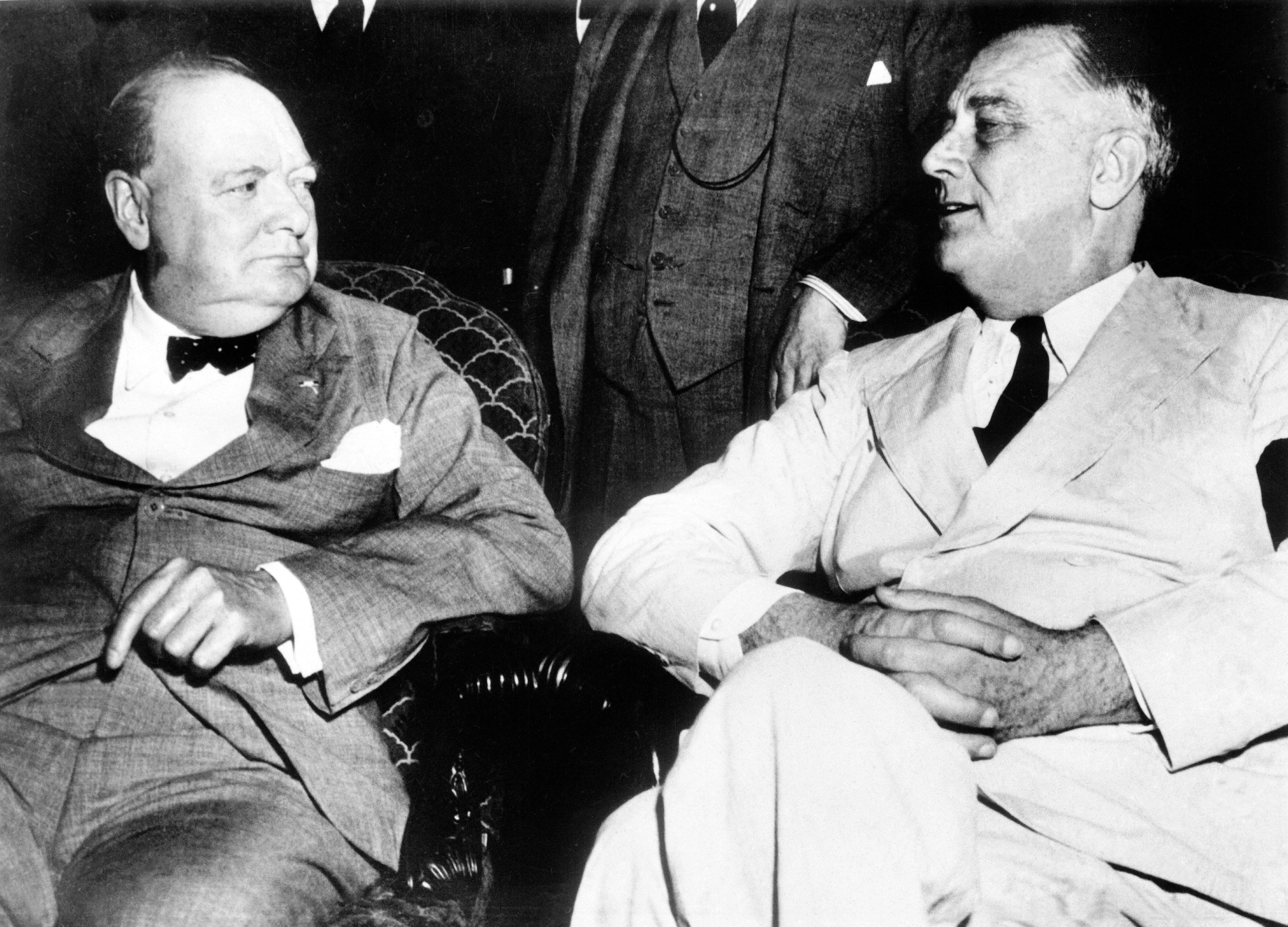 British Prime Minister Winston Churchill and American President Franklin D, Roosevelt at a special meeting of the Pacific War Council during World War Two on June 26, 1942.