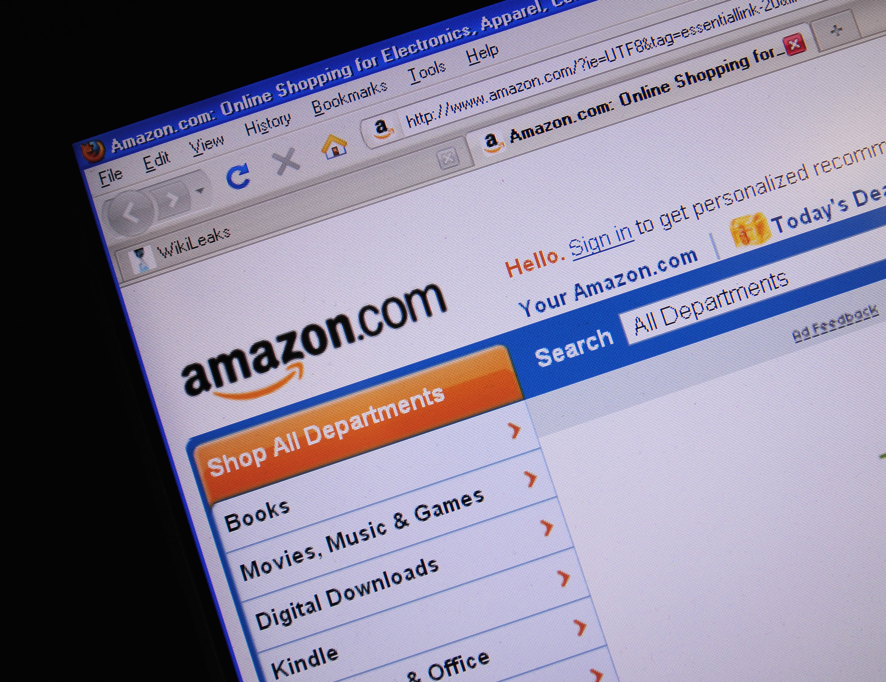 This December 9, 2010 photo shows the internet site of Amazon.com.