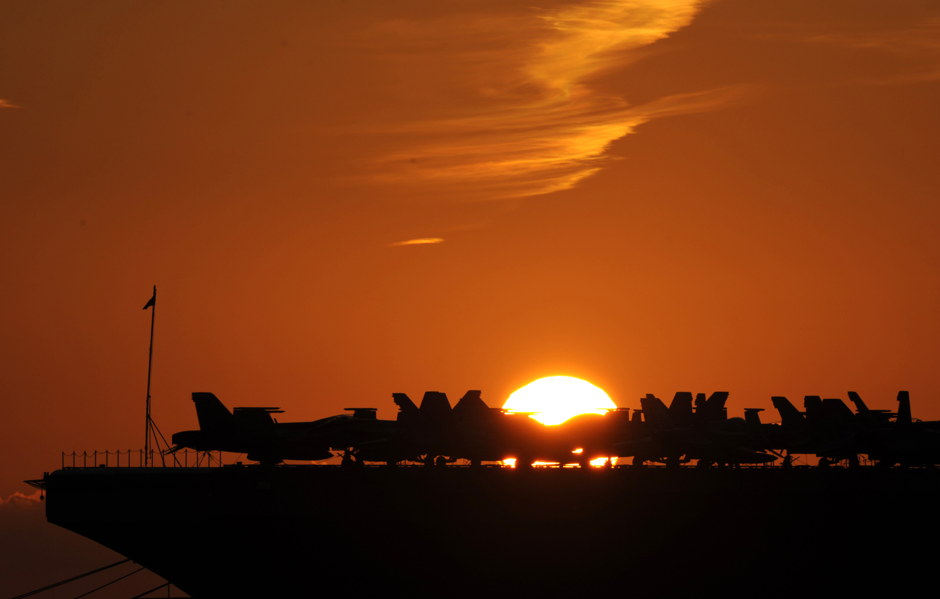 The aircraft aboard the USS George W. Bush are now within striking distance of Iraq.