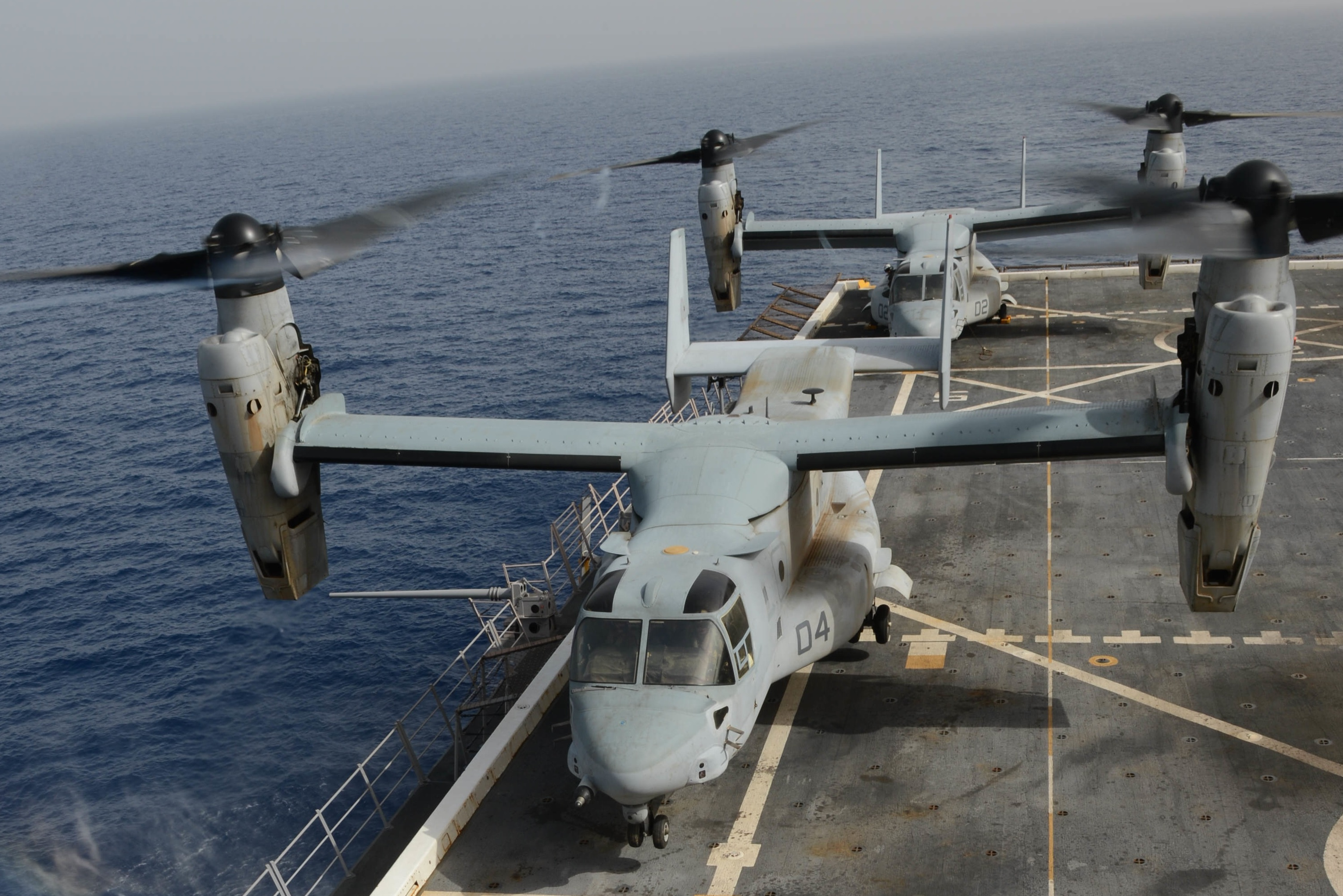 V-22s shown aboard the USS Mesa Verde. The ship sailed into the Persian Gulf on Monday, where its tilt-rotor aircraft could used be used to rescue U.S. diplomats in extremis in Baghdad.