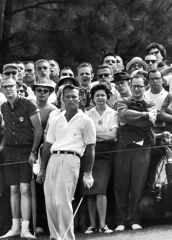 <b>Caption from LIFE.</b> Despite his mastery of shots, Palmer sometimes feels compelled to help out with body English, as in playoff round of the '62 Masters, which he won.