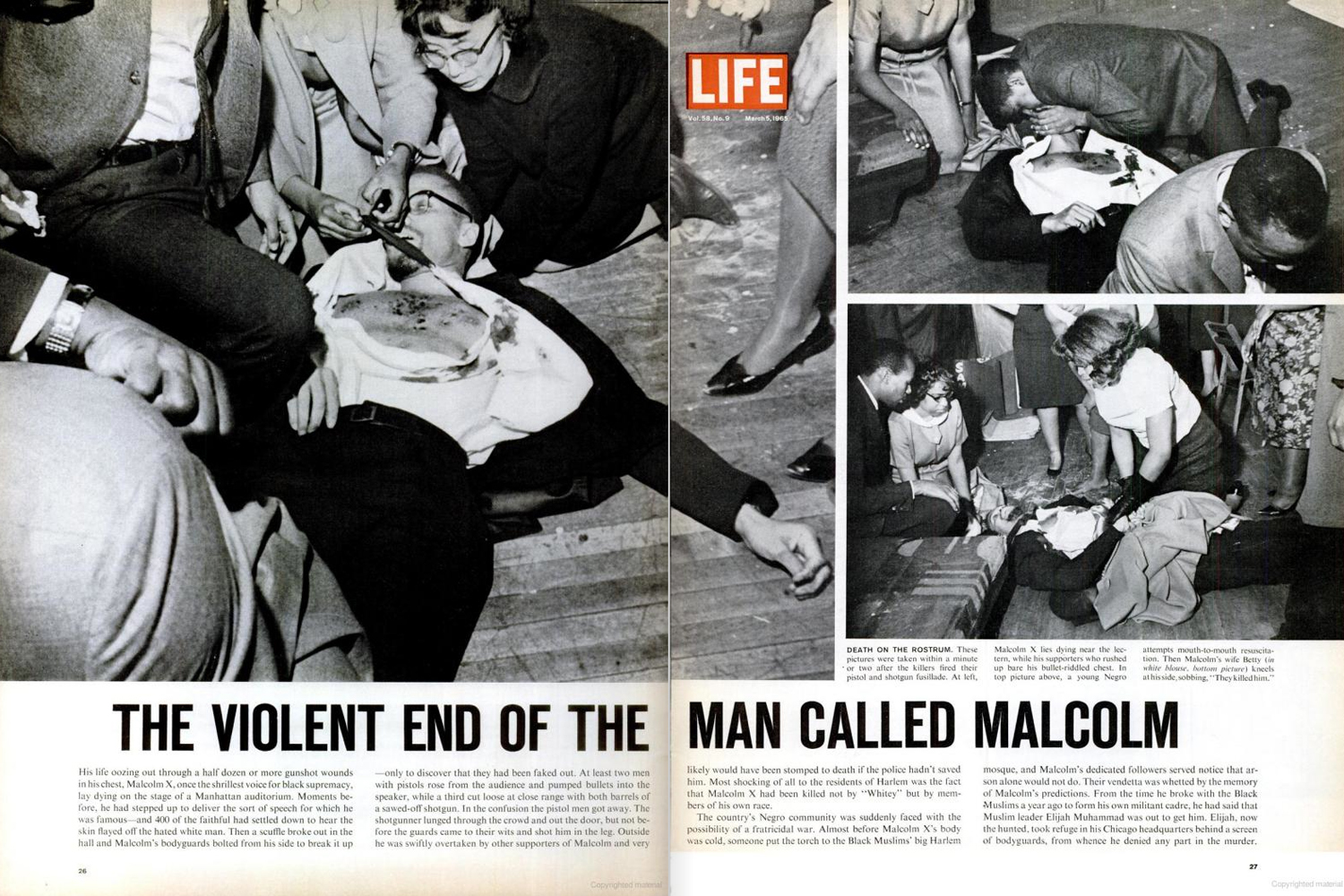 A photo by Malcolm X's close associate Earl Grant shows Yuri Kochiyama (above left, in glasses) cradling the fatally wounded human rights activist's head at the Audubon Ballroom in Harlem, Feb. 21, 1965.