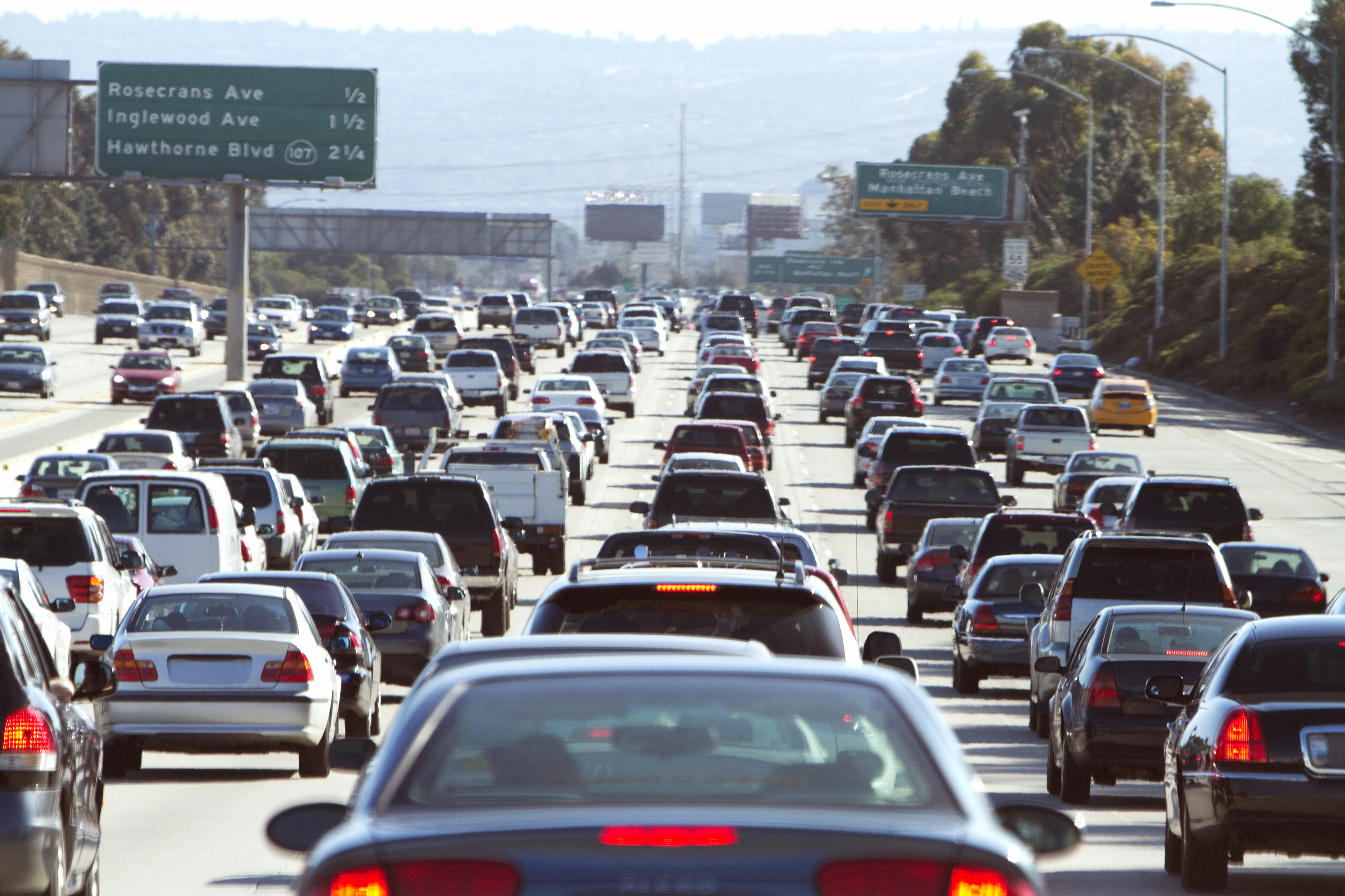 A traffic jam on the 405 freeway in Los Angeles, California.