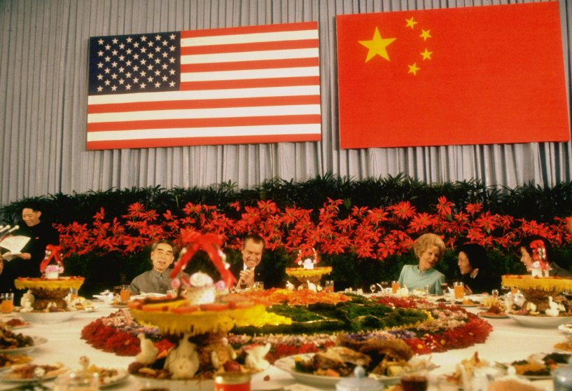 Chinese Premier Chou En-lai, President Richard Nixon, Pat Nixon and Mrs. Chou En-lai at an official banquet during Nixon's landmark visit to China in 1972.