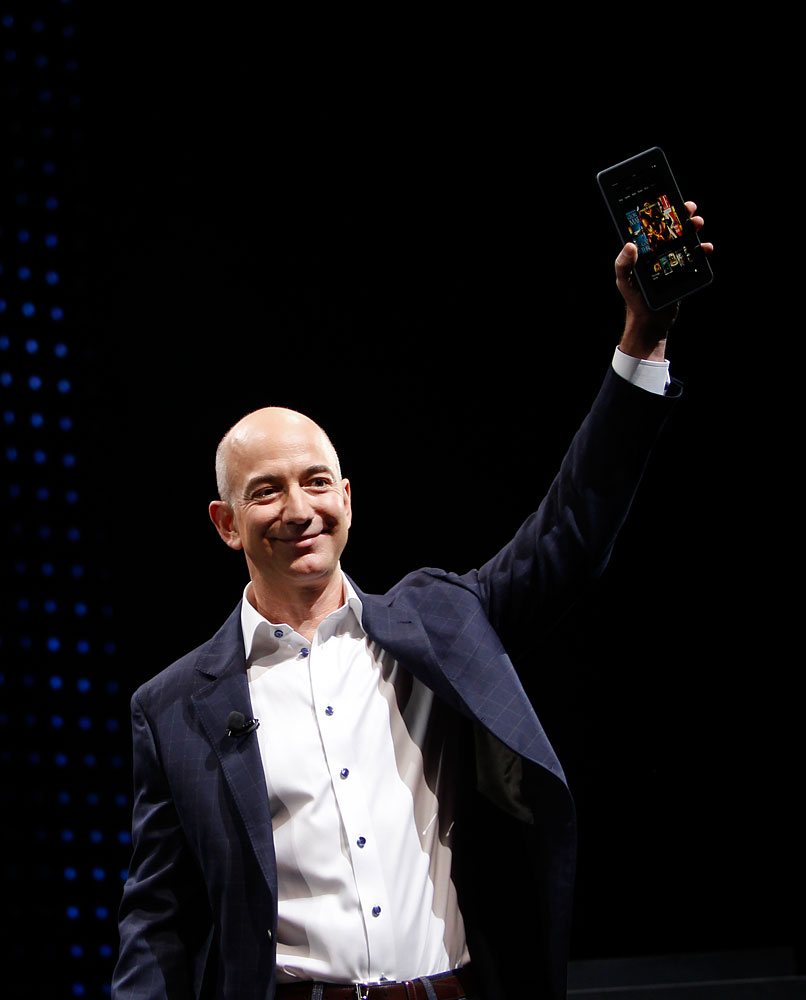 Jeff Bezos, chief executive officer of Amazon.com Inc., introduces the Kindle Fire HD tablet at a news conference in Santa Monica, California, U.S., on Thursday, Sept. 6, 2012.