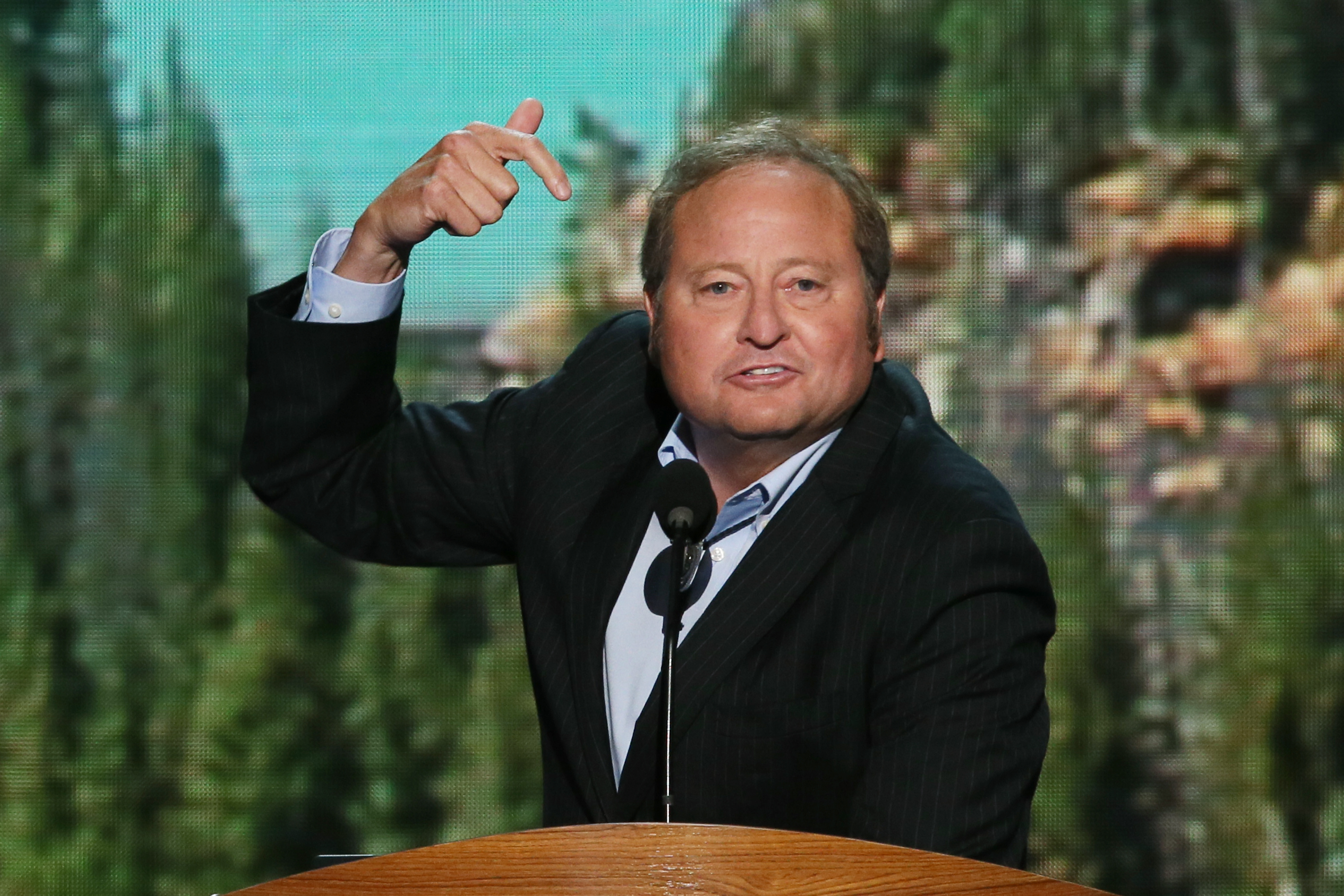 Then Montana Gov. Brian Schweitzer speaks on stage during the final day of the Democratic National Convention on September 6, 2012 in Charlotte, North Carolina.