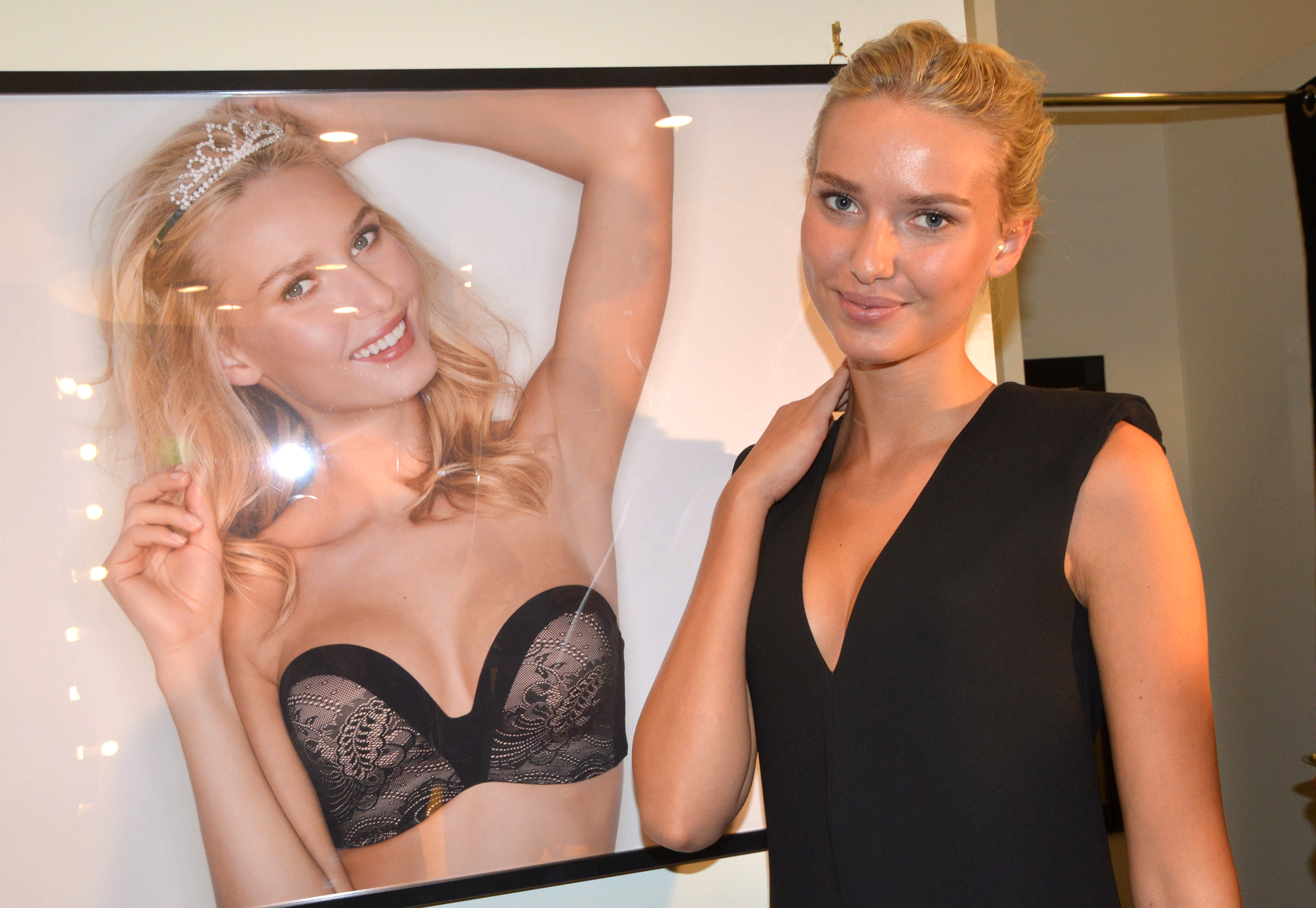 Wonderbra's new muse Adriana Cernanova poses with herself.