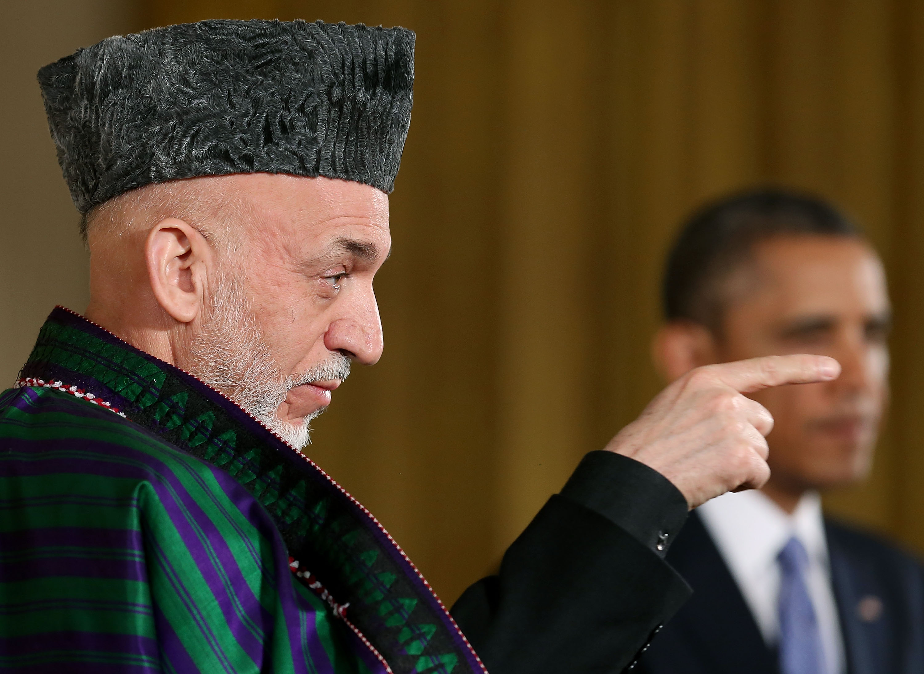 Afghan President Hamid Karzai and President Obama at the White House in 2013.
