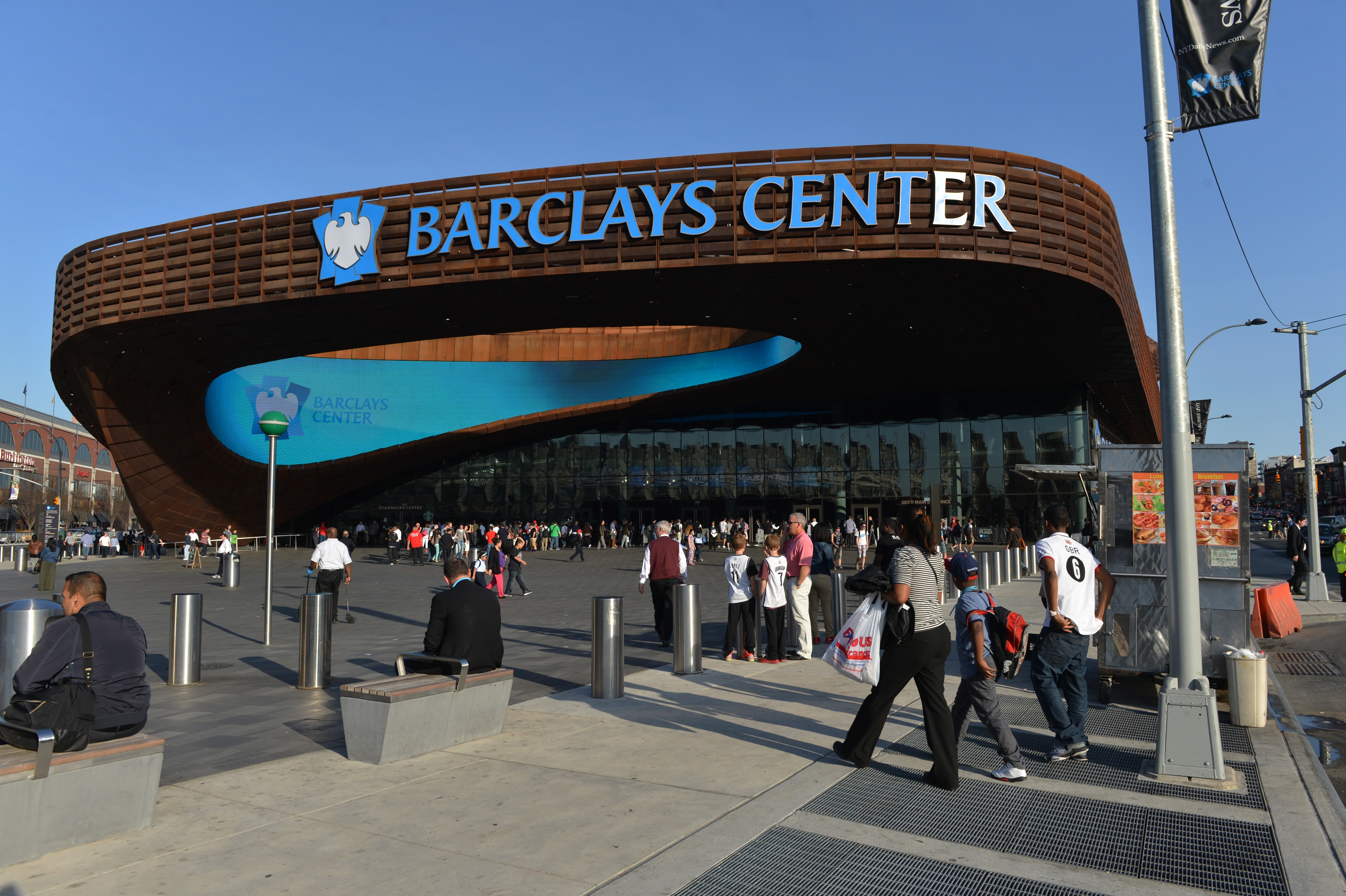 Exterior view of the Barclays Center before a Brooklyn Nets basketball game in the Brooklyn borough of New York City, April 9, 2013.