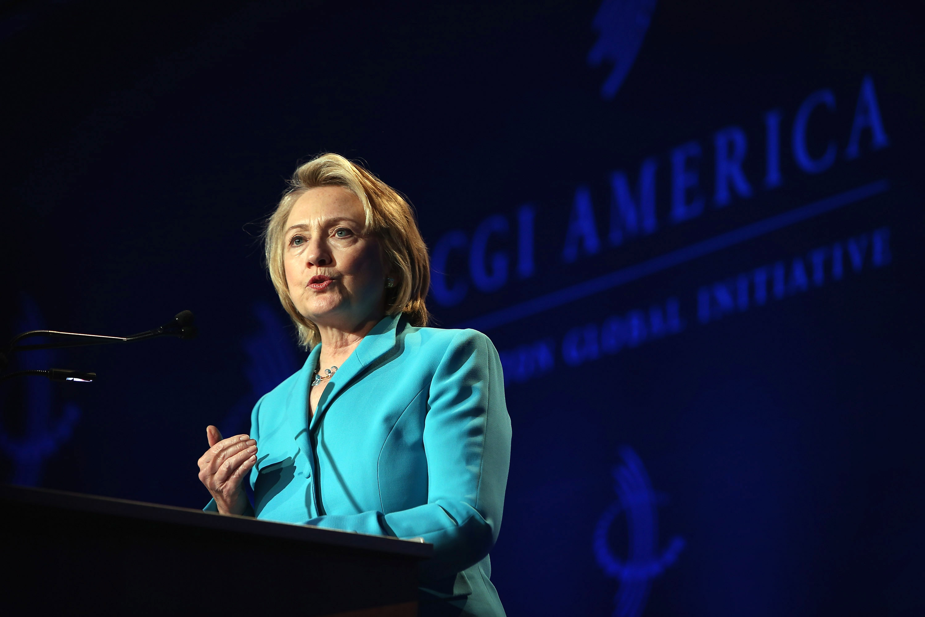 Former Secretary of State Hillary Clinton speaks to guests at the Clinton Global Initiative (CGI) on June 13, 2013 in Chicago, Illinois. The CGI was established in 2005 by former President Bill Clinton with the intention of convening world leaders to address pressing global issues.