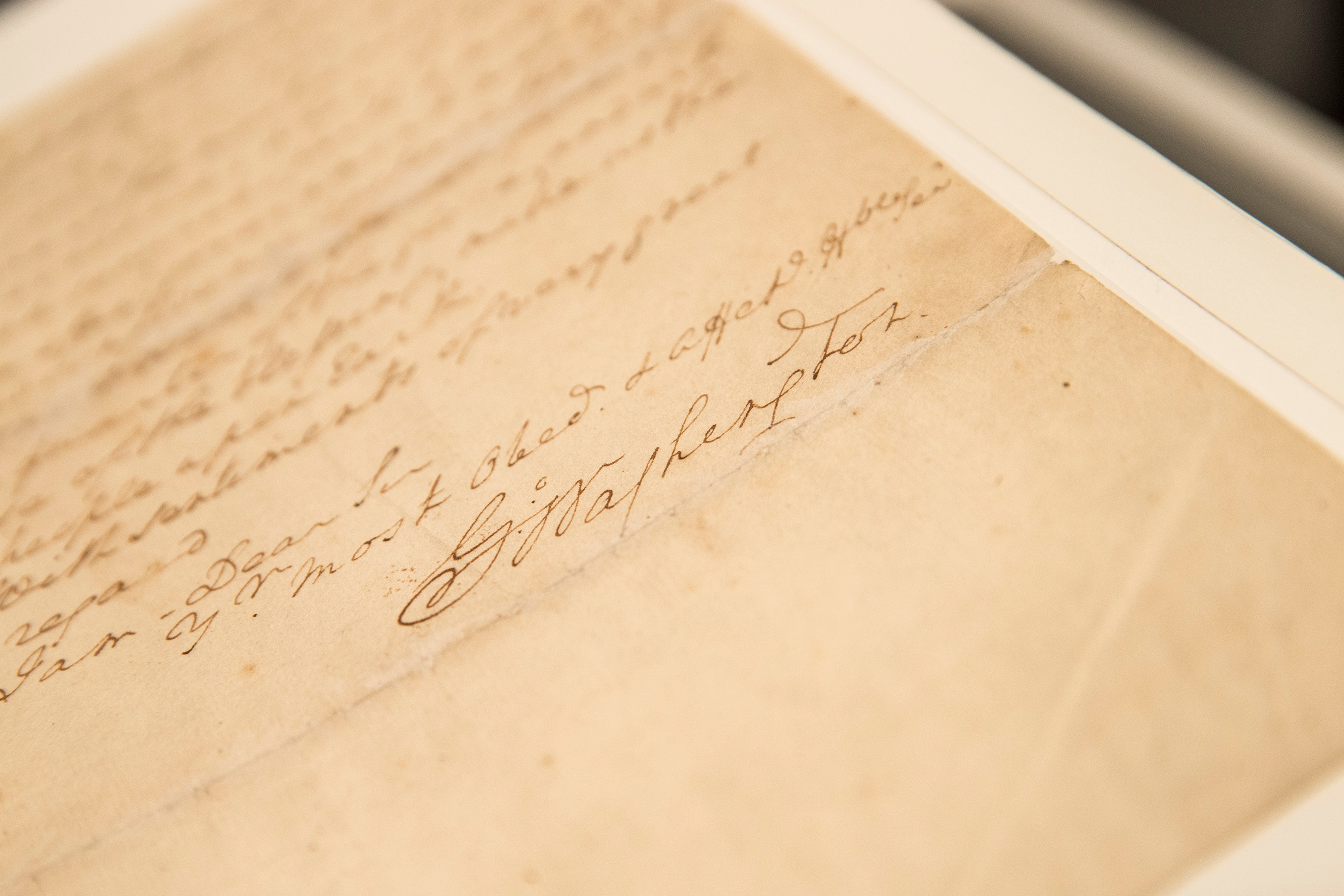 The signature of George Washington, the first president of the United States, is seen on a letter he wrote regarding the United States' Constitution.