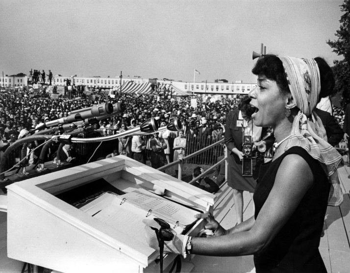 Actress Ruby Dee giving a reading at Martin Luther King Jr.'s 1963 March on Washington