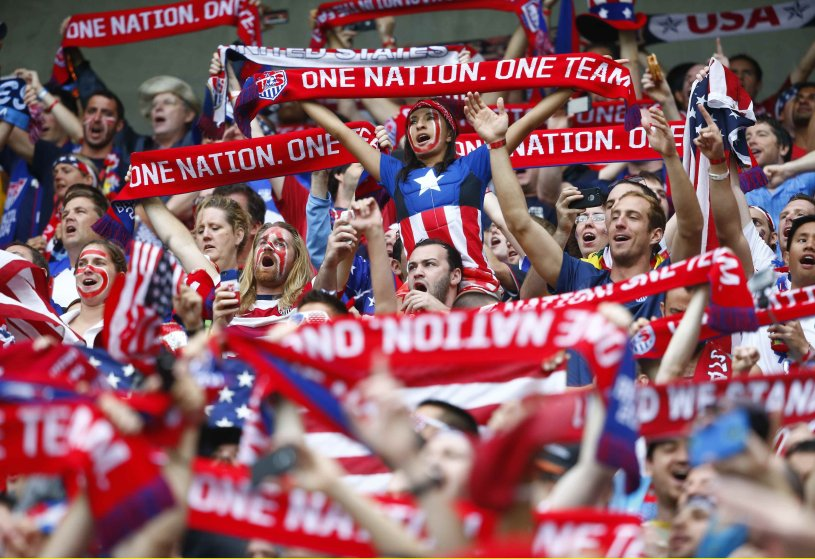 U.S. fans cheer before the start of the 2014 World Cup Group G soccer match against German at the Pernambuco arena in Recife June 26, 2014.