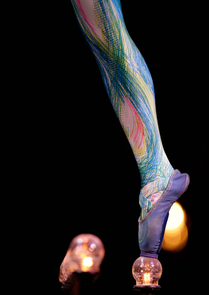An acrobat of Cirque du Soleil performs during the rehearsal of their production of the spectacle 'Dralion', in Mexico City on Nov. 25, 2009.