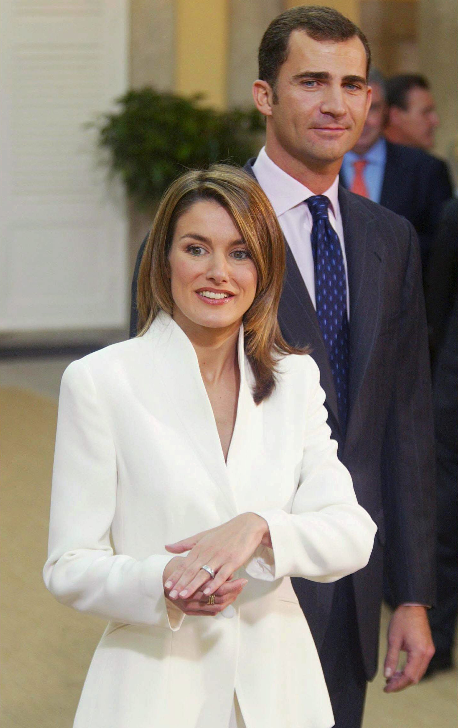 Prince Felipe of Bourbon and Letizia Ortiz at Pardo Palace after the official announcement of their engagement In Madrid on November 06, 2003.