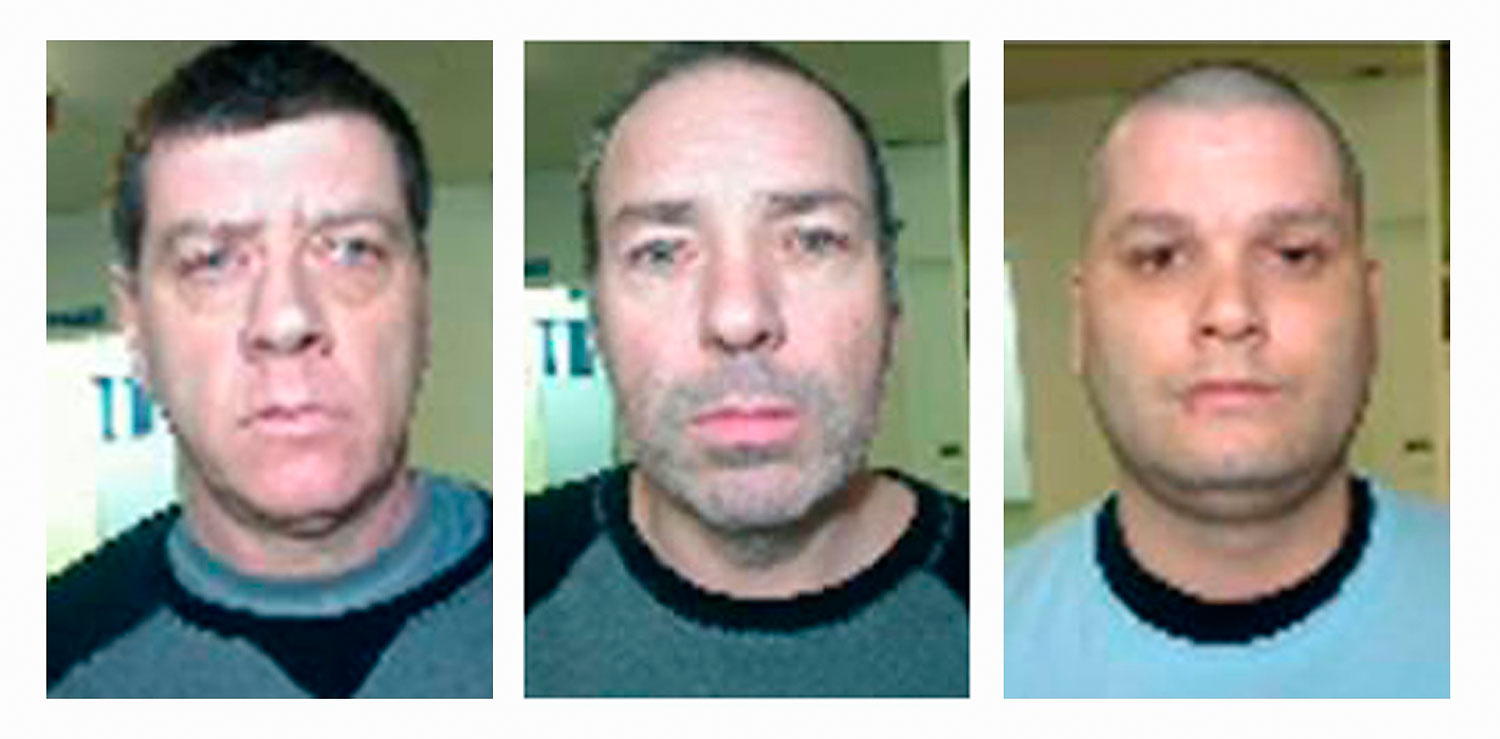 From left to right: Denis Lefebvre, 53, Serge Pomerleau, 49, and Yves Denis, 35, who escaped from Orsainville Detention Centre using a helicopter in suburban Quebec City, Quebec June 7, 2014, in this undated handout picture released by Surete de Quebec on June 9, 2014.