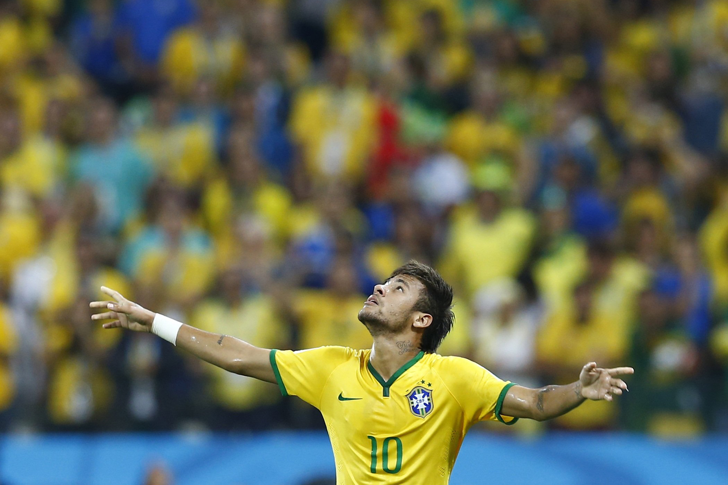 Jun. 12, 2014. Brazil's Neymar celebrates a goal during the 2014 World Cup opening match between Brazil and Croatia at the Corinthians arena in Sao Paulo.
