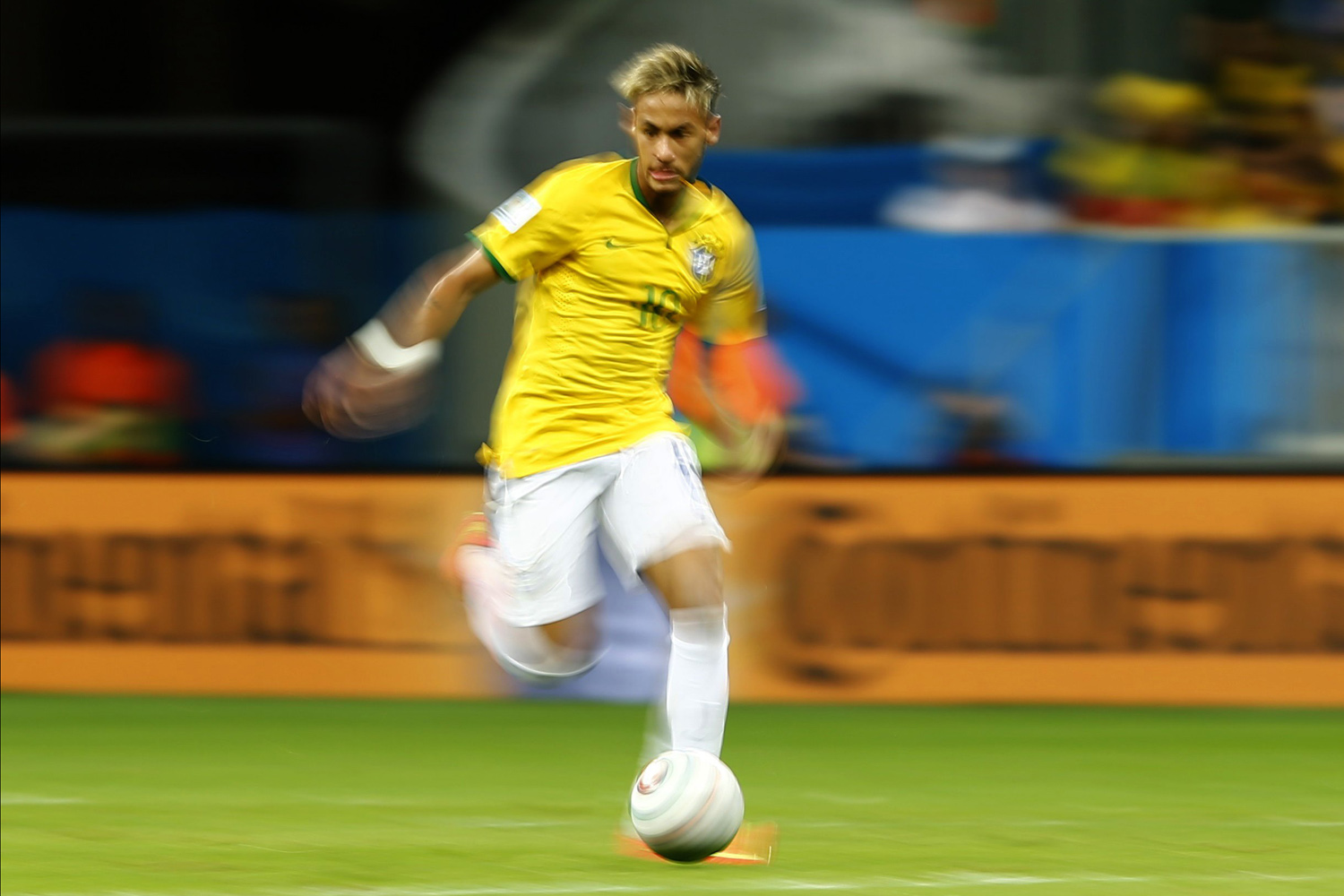 Jun. 23, 2014. Brazil's Neymar dribbles the ball during the 2014 World Cup Group A soccer match between Cameroon and Brazil at the Brasilia national stadium in Brasilia.