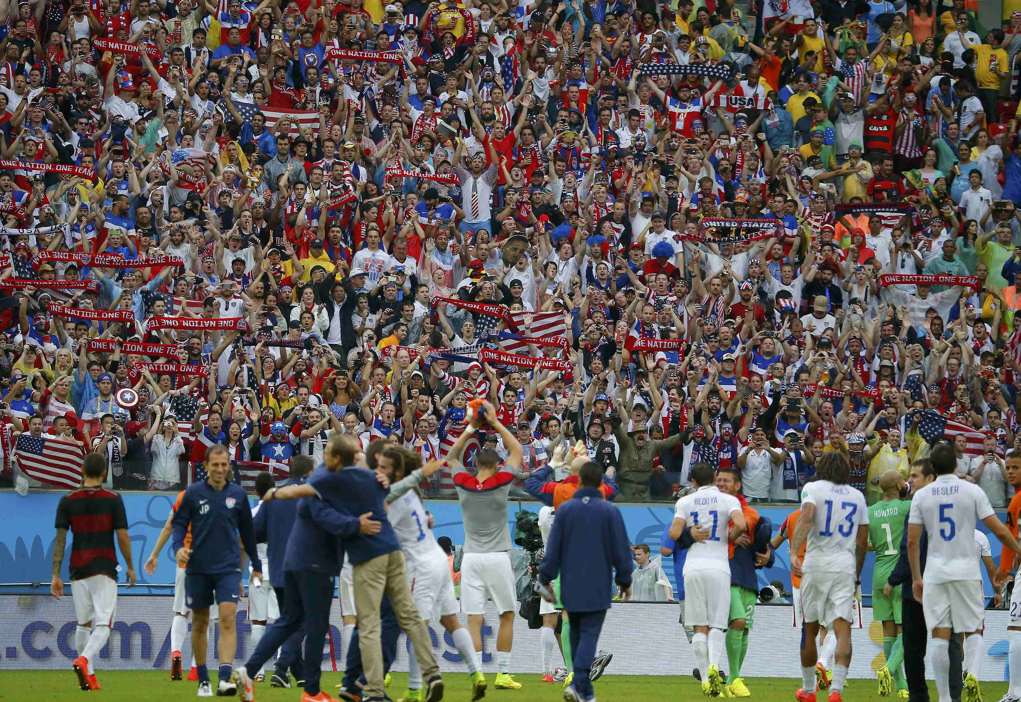 U.S. players acknowledge supporters at the end of their match against Germany at the Pernambuco arena in Recife, Brazil on June 26, 2014.