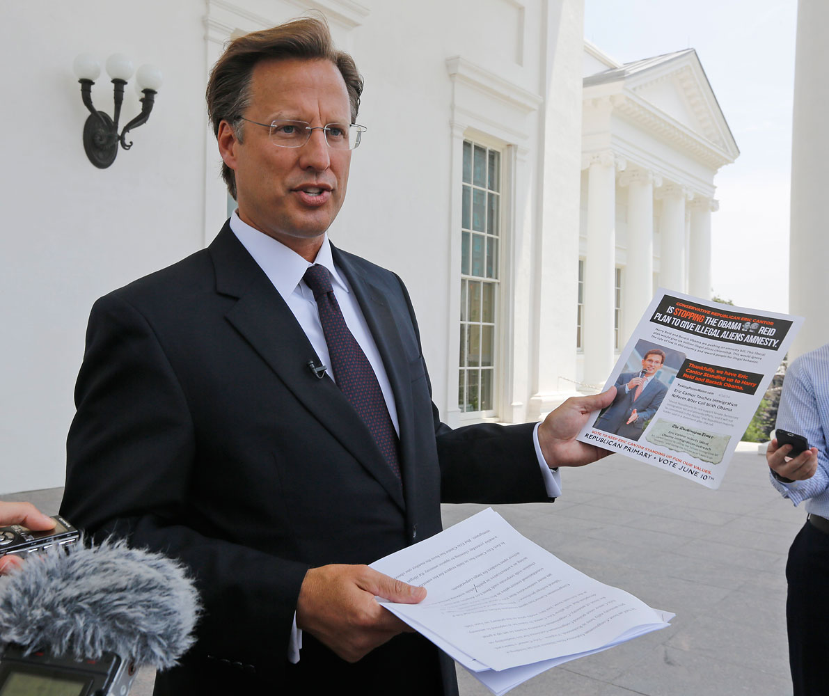 Seventh District US Congressional Republican candidate David Brat at a press conference in Richmond, Va., May 28, 2014. Brat, a relative unknown, defeated House Majority Leader Eric Cantor in a GOP primary, June 10, 2014.