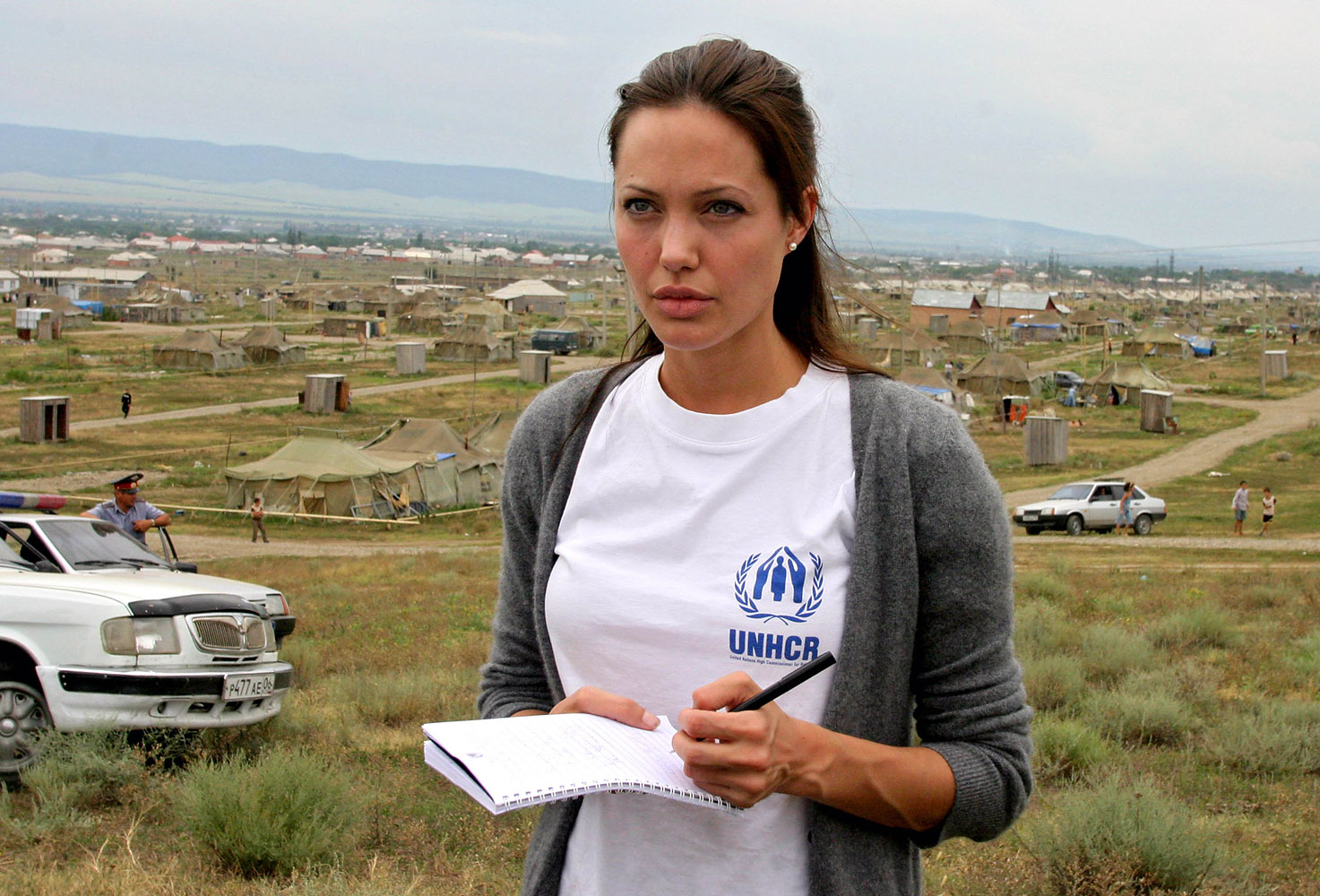 Actress Angelina Jolie visits Bella refugee camp Aug. 22, 2003 in Ingushetia, near the Chechen border in Russia's North Caucasus region.