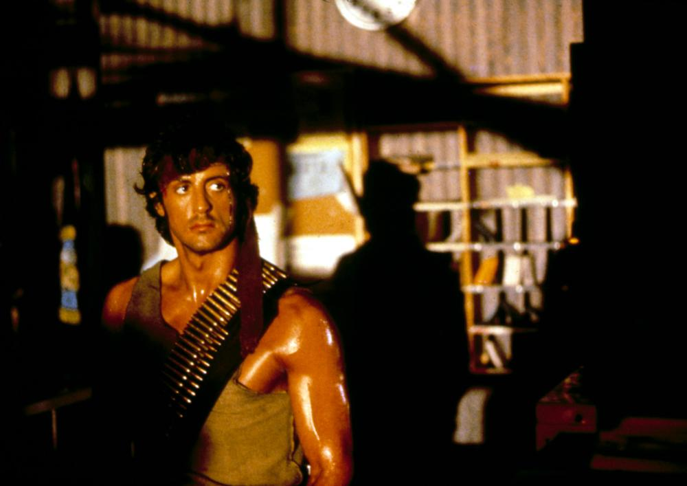 Sylvester Stallone plays a Vietnam veteran in First Blood, based on a novel of the same name.