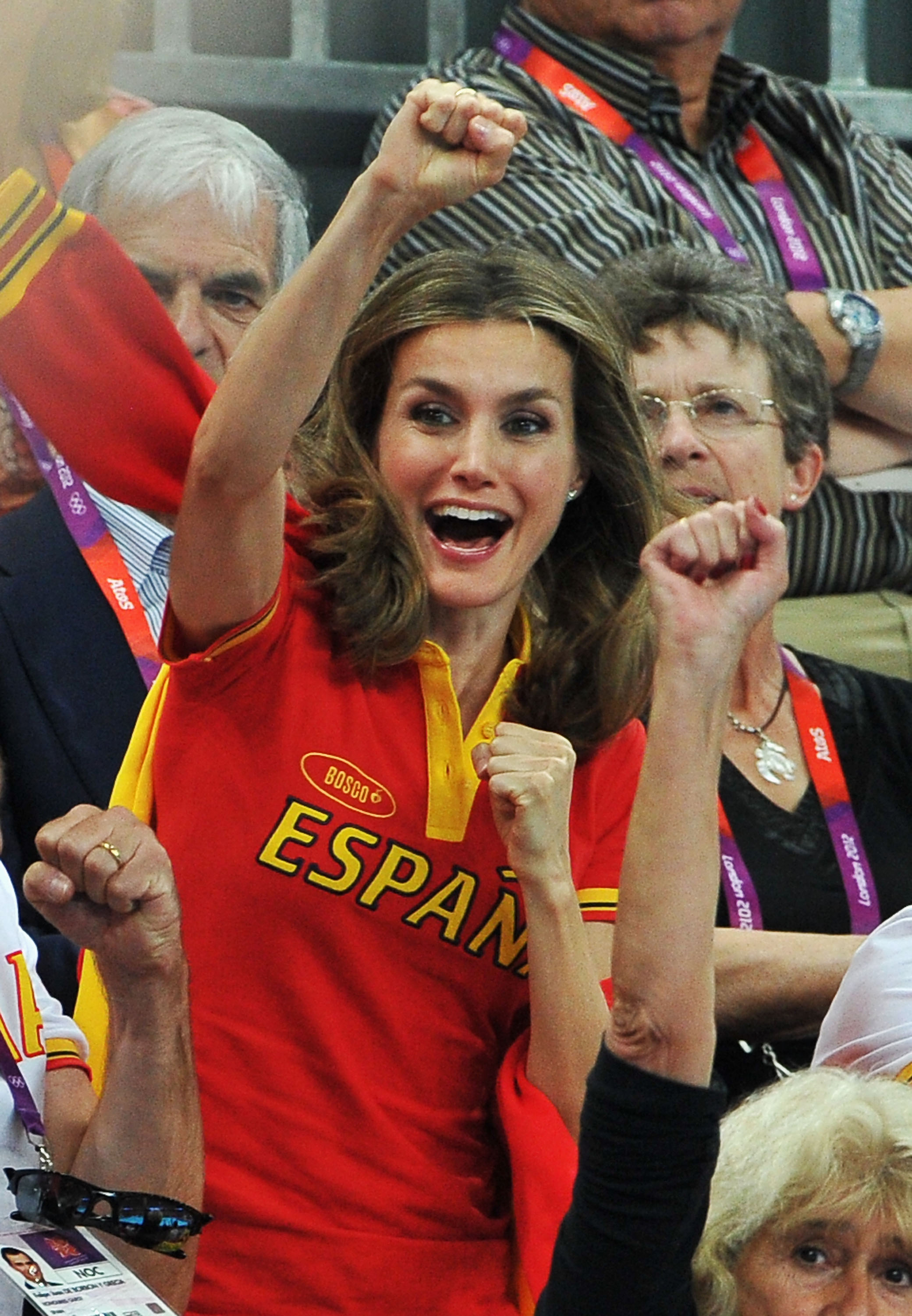 Princess Letizia celebrates during a Women's Handball Bronze medal match between Spain and Korea at the London Olympics on August 11, 2012 in London.