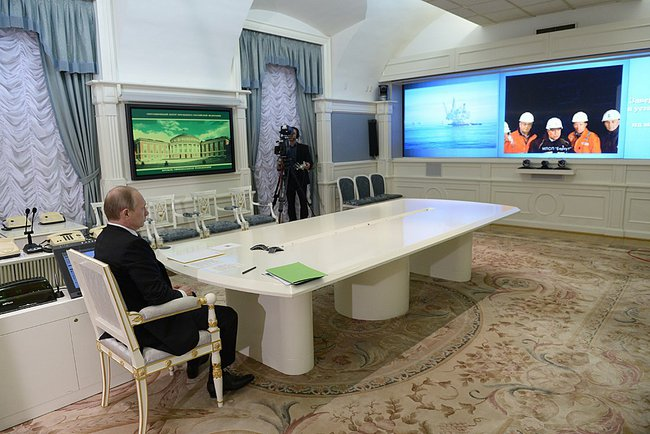 President of Russia Vladimir Putin holds a video conference with Berkut oil rig, which was put into operation as part of the oil and gas project Sakhalin 1 on June 27, 2014 in Moscow.
