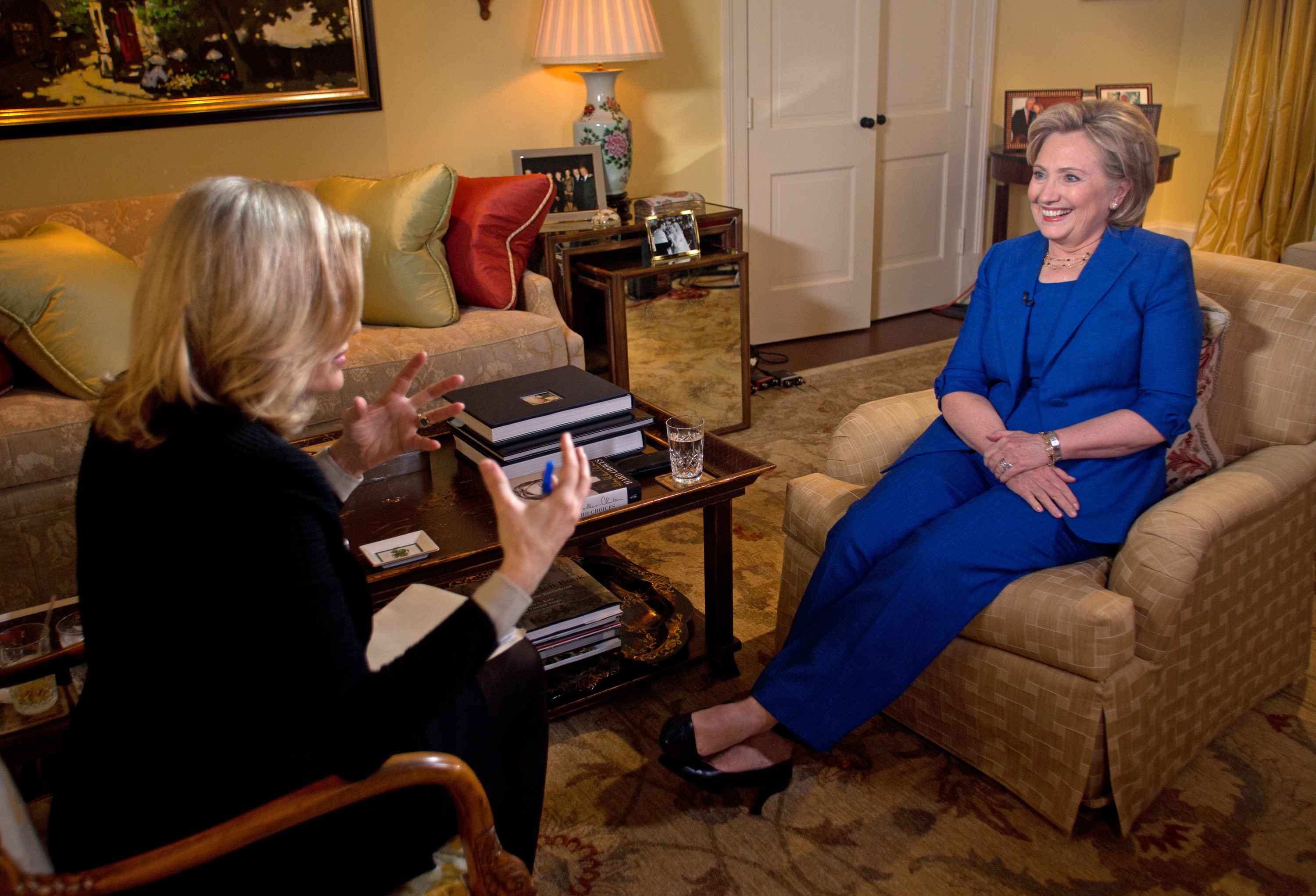 Hillary Clinton talks with ABC News anchor Diane Sawyer for her first television interview in conjunction with the release of her new book on Monday, June 9.