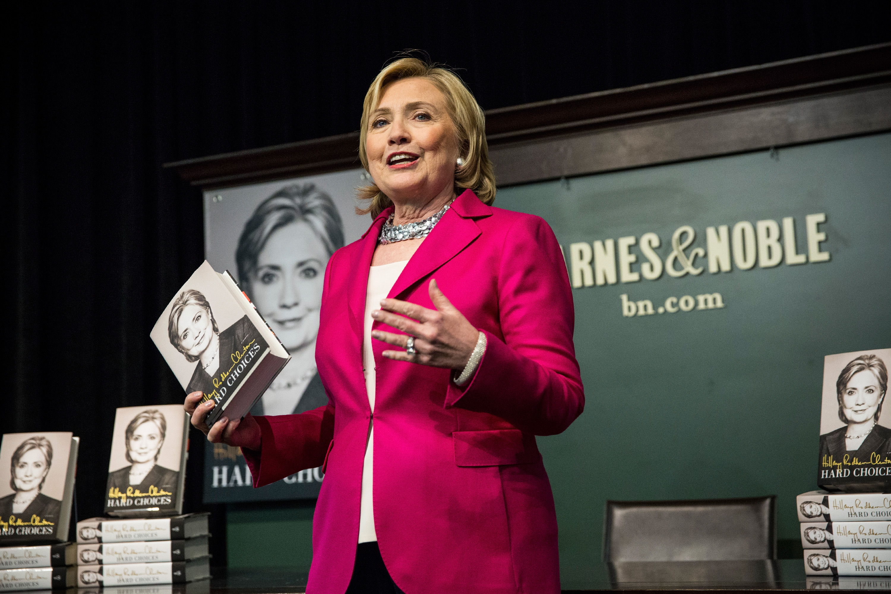 Former Secretary of State Hillary Clinton speaks to a crowd during a book signing for her new book,  Hard Choices  at a Barnes & Noble on June 10, 2014 in New York City.