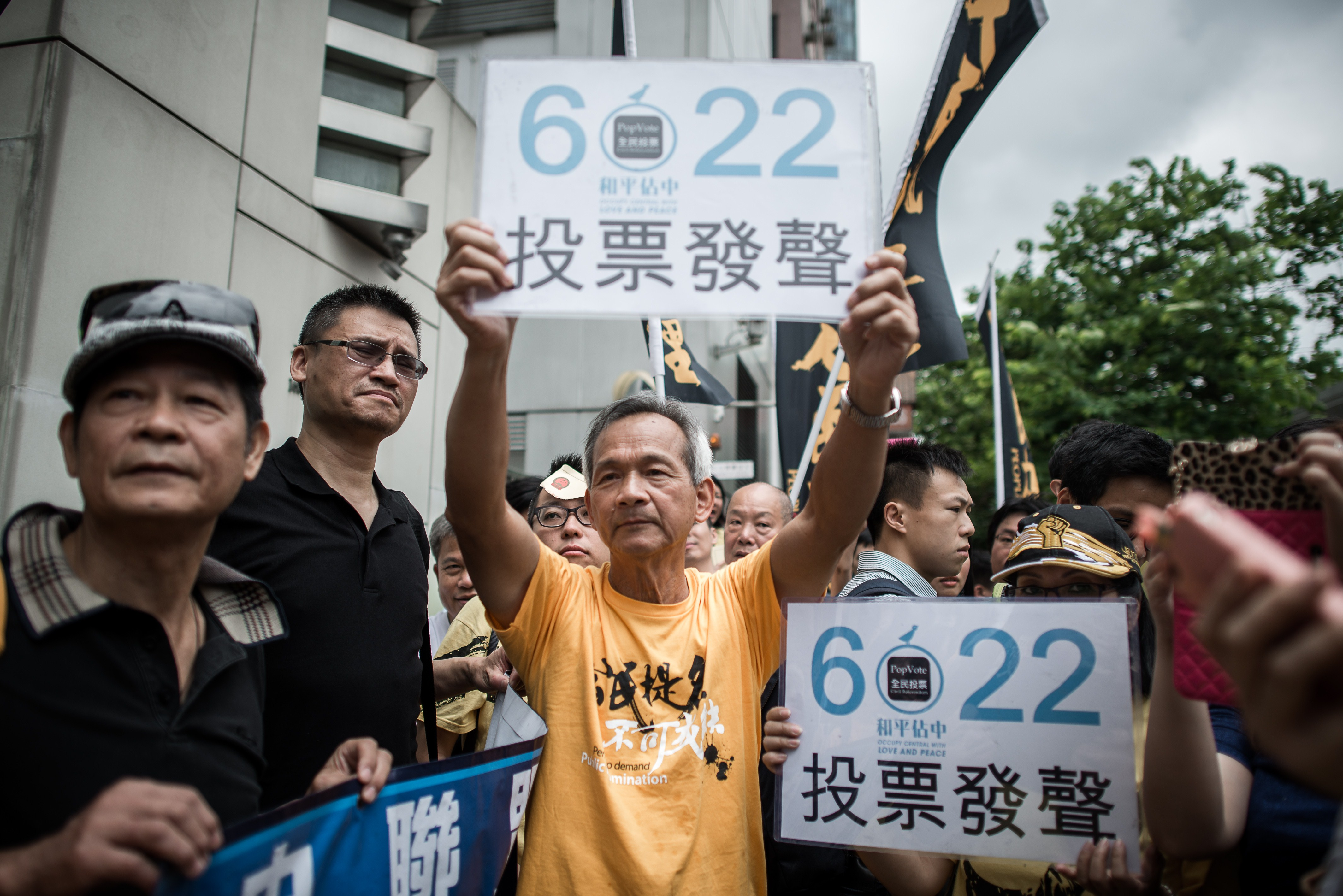 Demonstrators supporting the Occupy Central movement display placards asking Hong Kong residents to cast ballots for the June 22 referendum on three proposals outlining rules for the Chief Executive election, during a protest outside Beijing's representative office in Hong Kong on June 11, 2014