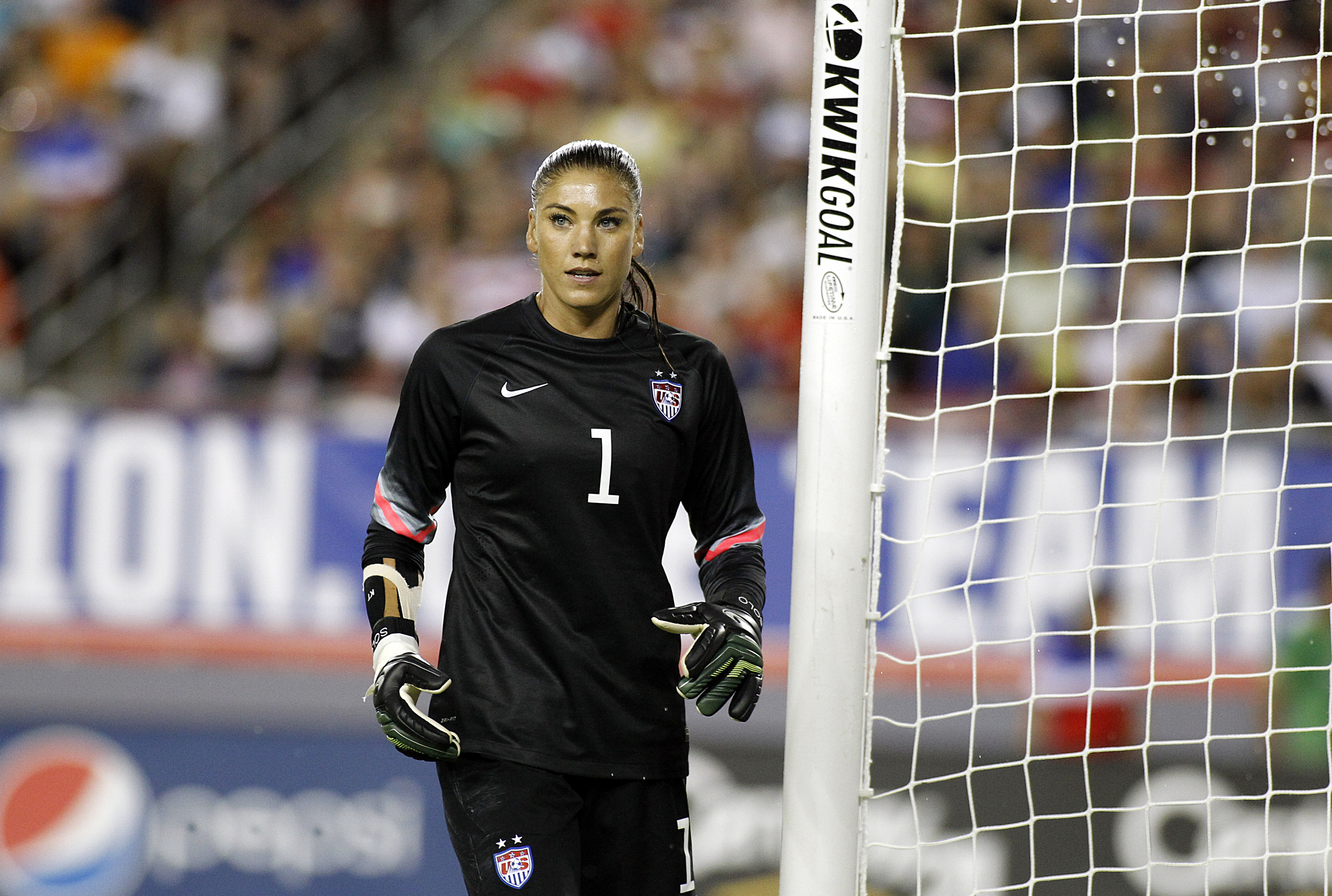 Goalkeeper Hope Solo takes her position in goal during the second half of a women's friendly soccer match against France on June 14, 2014 at Raymond James Stadium in Tampa, Florida.
