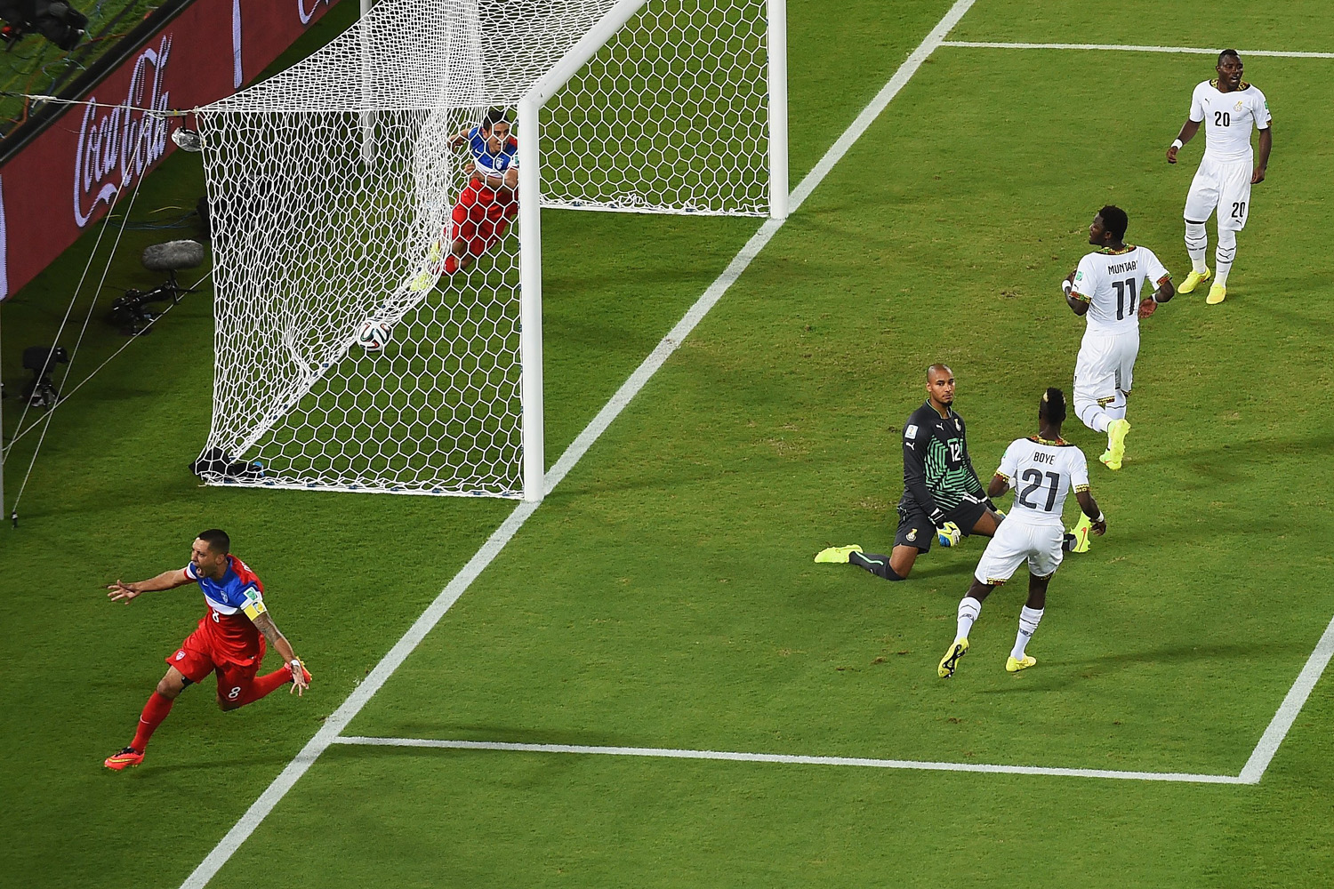 June 16, 2014. Clint Dempsey of the United States reacts after scoring his team's first goal past goalkeeper Adam Kwarasey of Ghana during the 2014 FIFA World Cup Brazil Group G match between Ghana and the United States at Estadio das Dunas in Natal, Brazil.