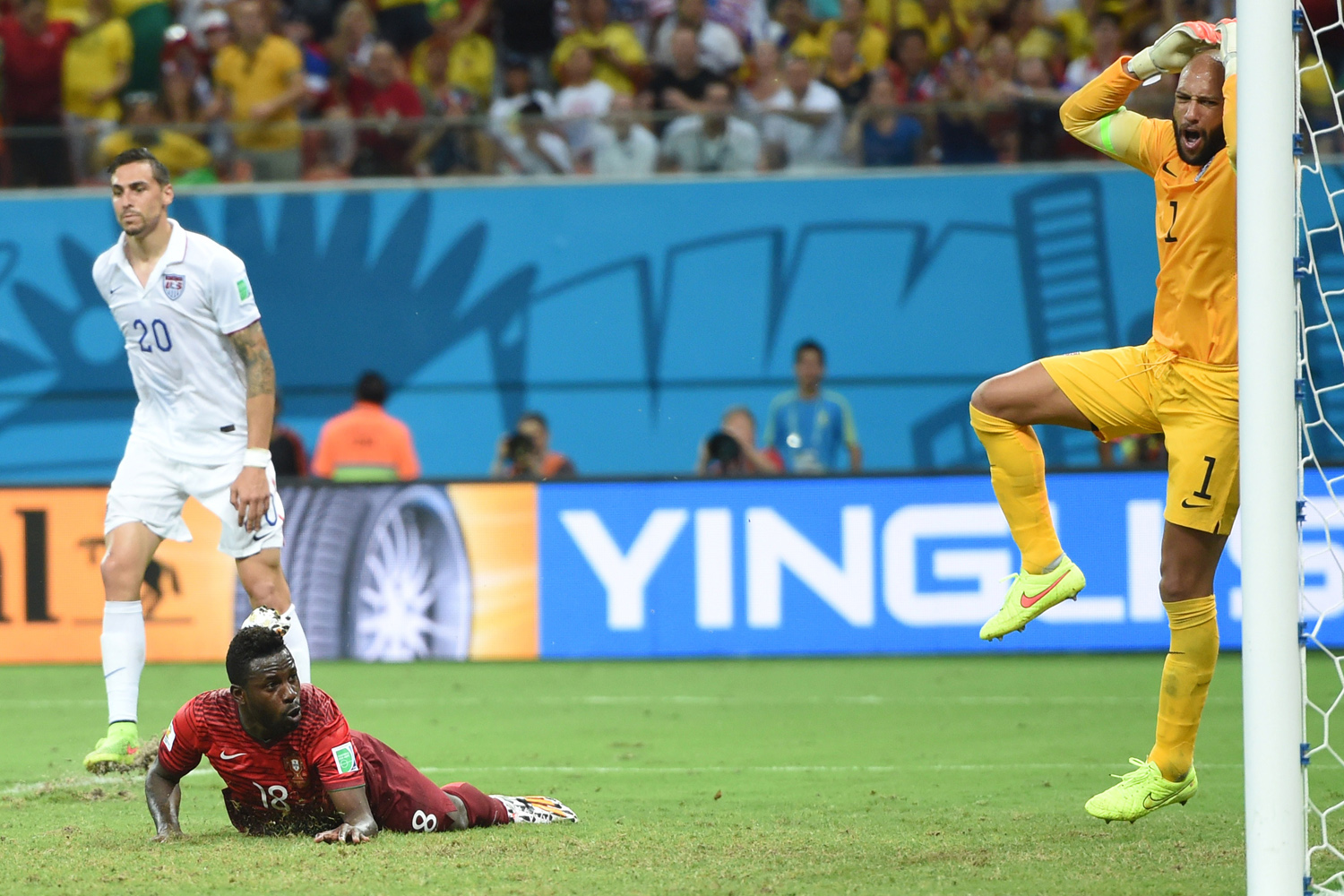 Jun. 22, 2014. US goalkeeper Tim Howard (R) reacts after goal from Portugal's forward Silvestre Varela (2nd L) during a Group G match between USA and Portugal at the Amazonia Arena in Manaus during the 2014 FIFA World Cup.