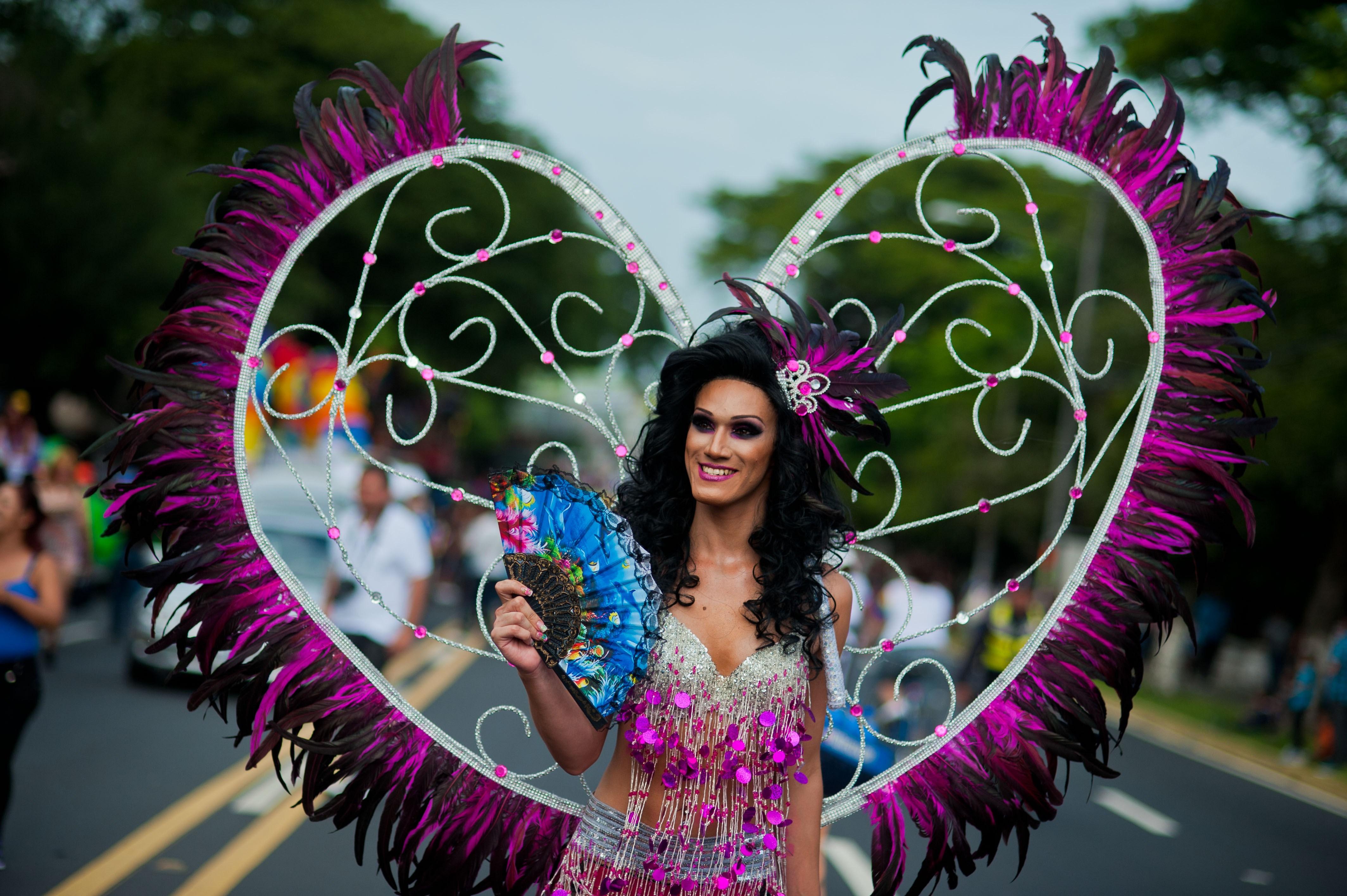 A person participates in the Gay Pride Parade in San Salvador, El Salvador, on June 28, 2014.