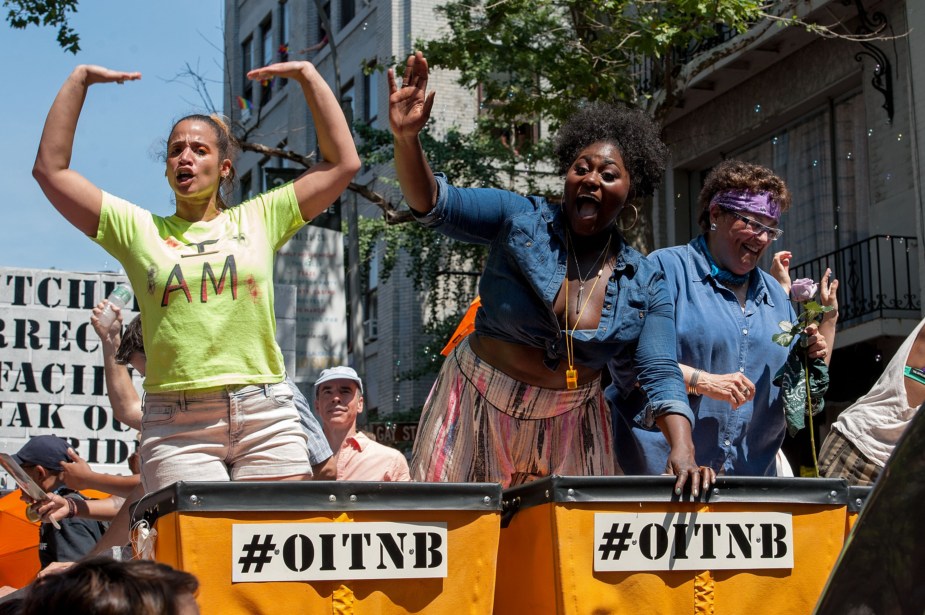 From left, Orange Is the New Black cast members Dascha Polanco, Danielle Brooks and Barbara Rosenblat attend the New York City pride march on June 29, 2014