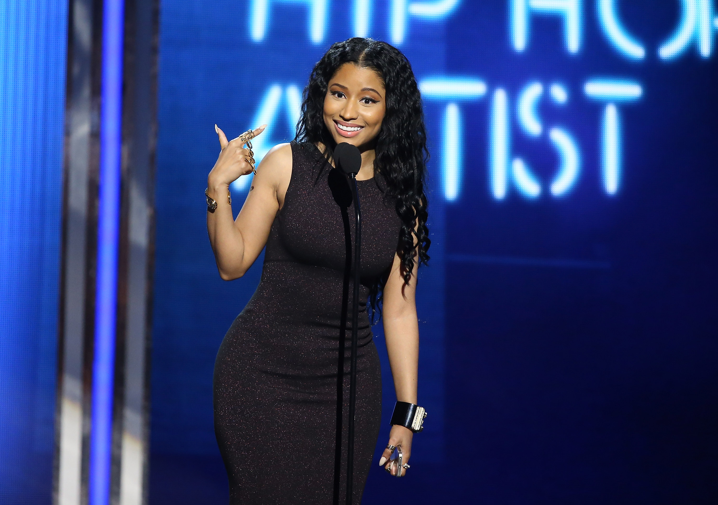 Nicki Minaj speaks onstage during the BET Awards held at Nokia Theater L.A. LIVE on June 29, 2014 in Los Angeles, California.