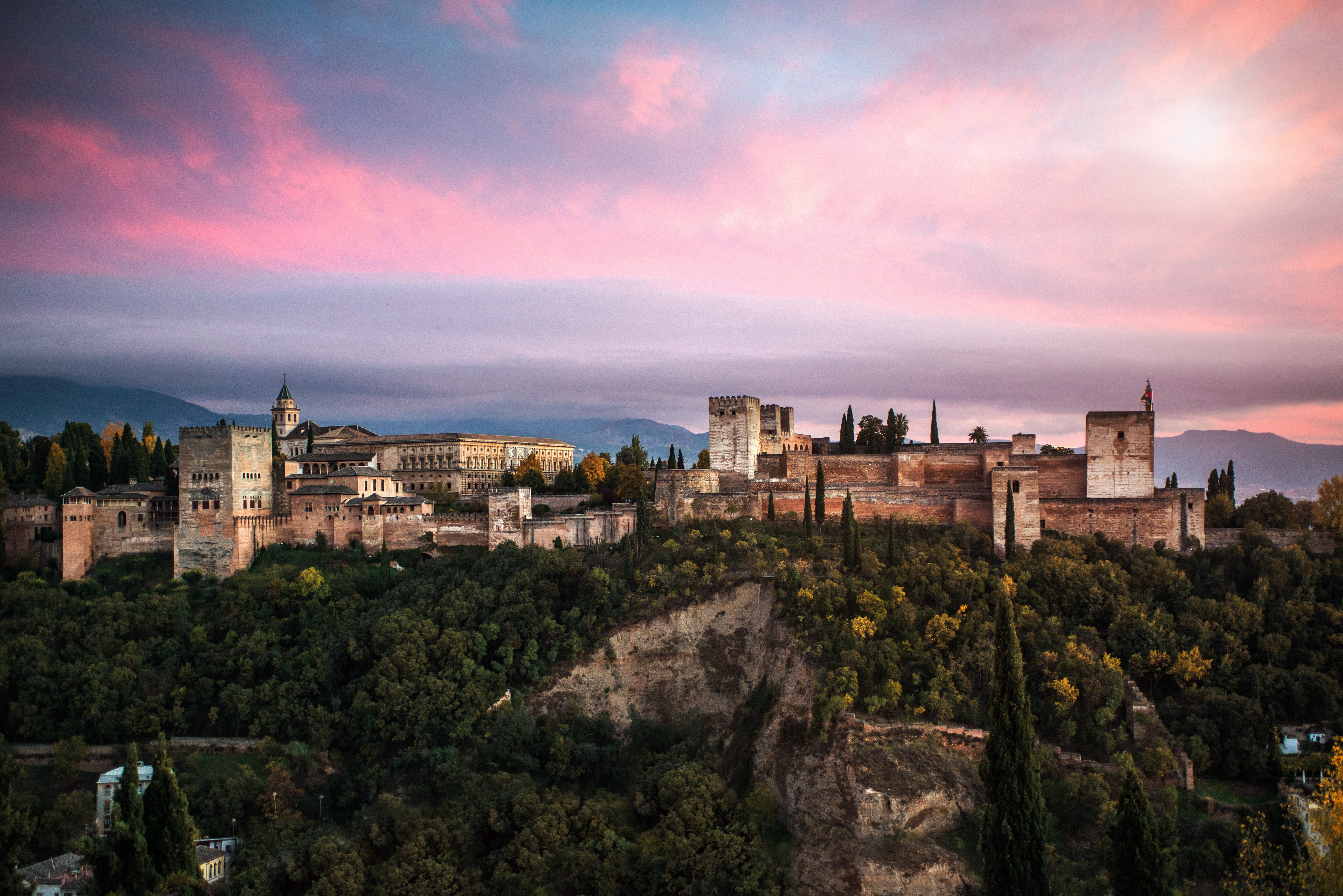 A view of the sunset over the Alhambra in Granada, the Spanish city this man was trying to visit.
