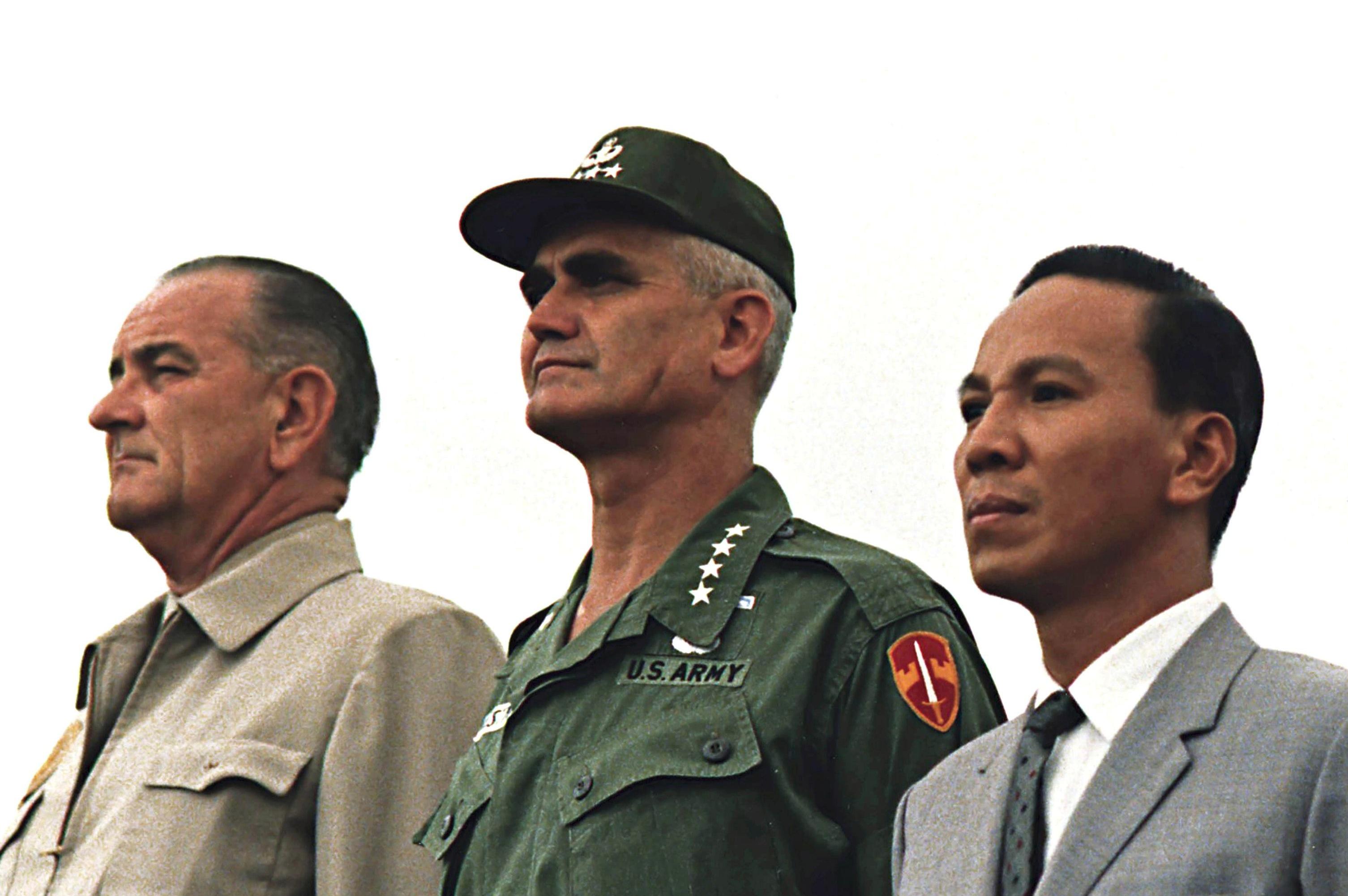 President Johnson, U.S. Army General William Westmoreland, and Vietnamese General Nguyen Van Thieu in 1967.