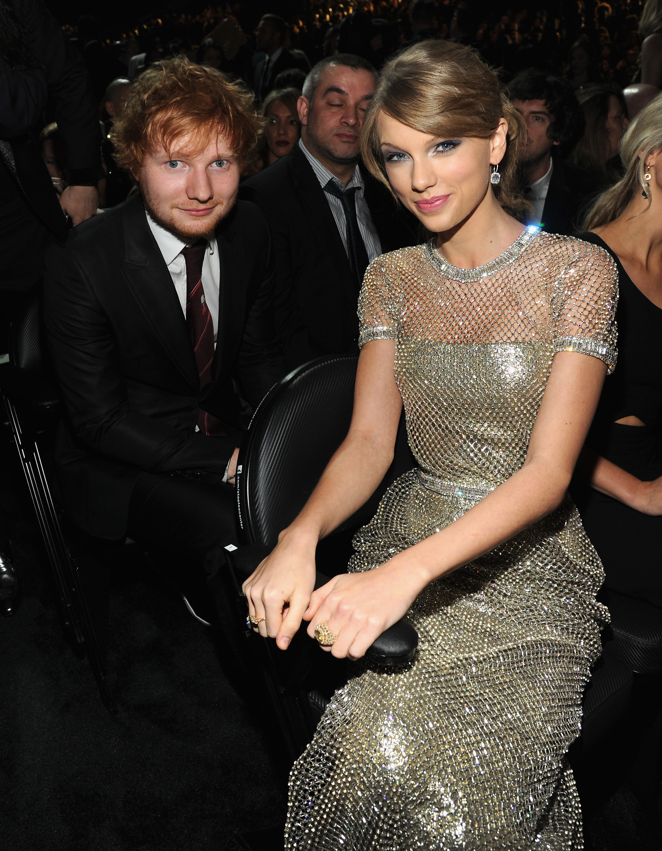 Ed Sheeran and Taylor Swift attend the 56th GRAMMY Awards at Staples Center on January 26, 2014 in Los Angeles, Ca.