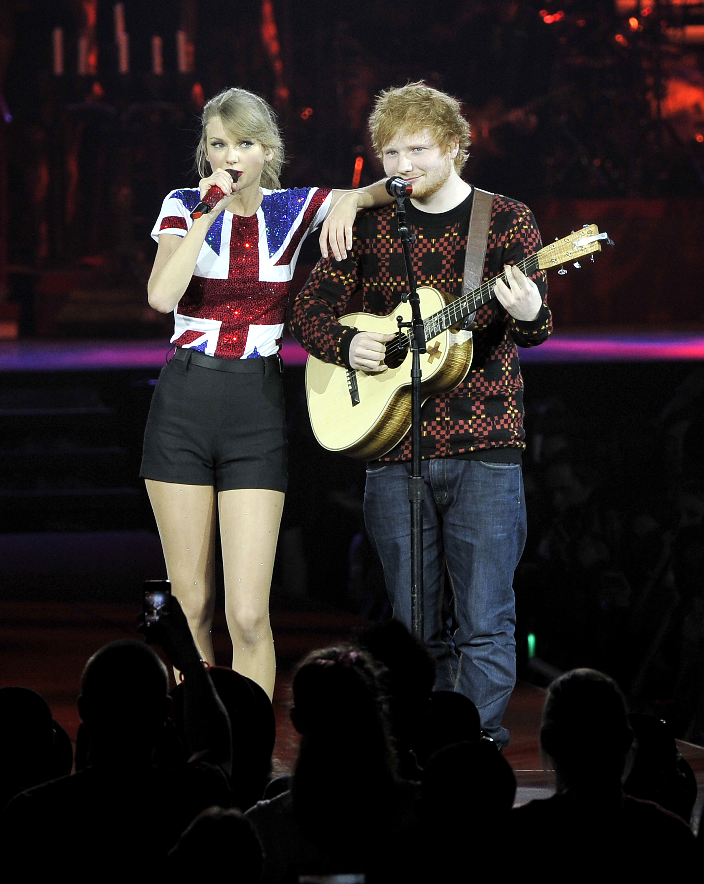 Taylor Swift was joined on stage by Ed Sheeran as she kicked off the European leg of her blockbuster The RED Tour with the first of five sold-out shows at London's O2 Arena, playing to a capacity crowd of more than 15,500 fans,  on February 1, 2014 in London, England.