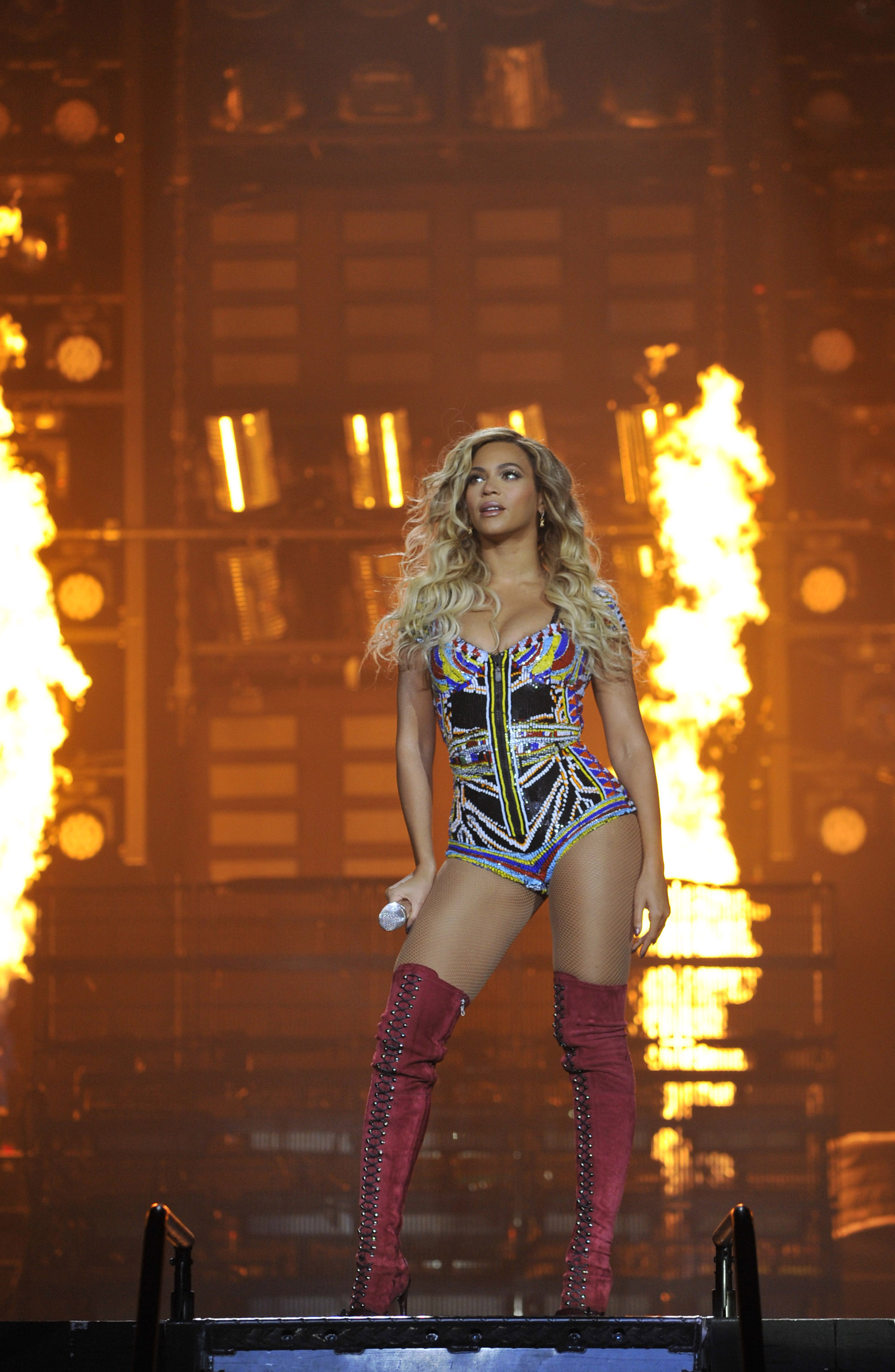 Beyonce performs on stage during  The Mrs. Carter Show World Tour  at the O2 Arena on March 6, 2014 in London, England.
